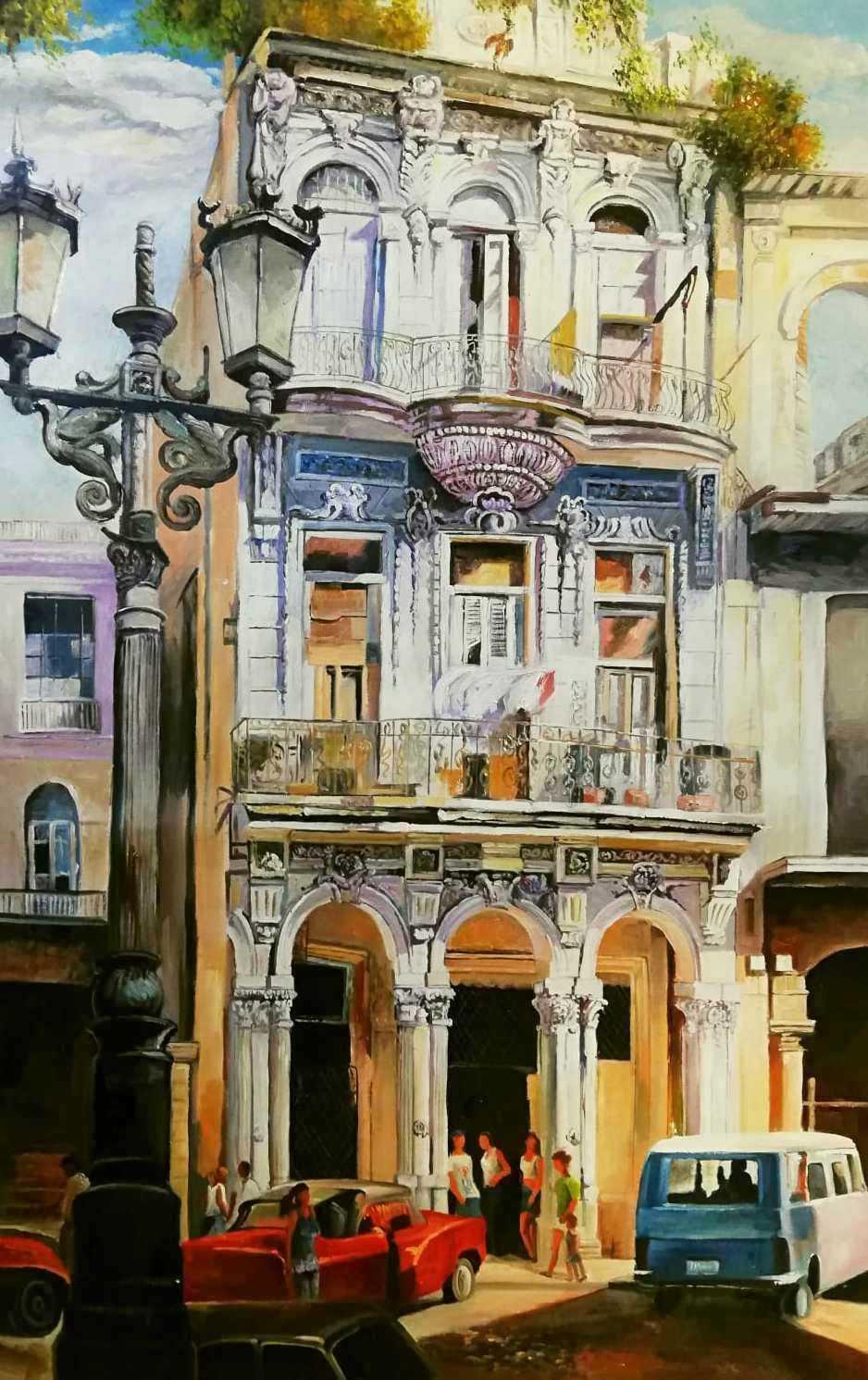 Modern Art - The Cuba house x96466 80x130cm exzellentes Ölgemälde