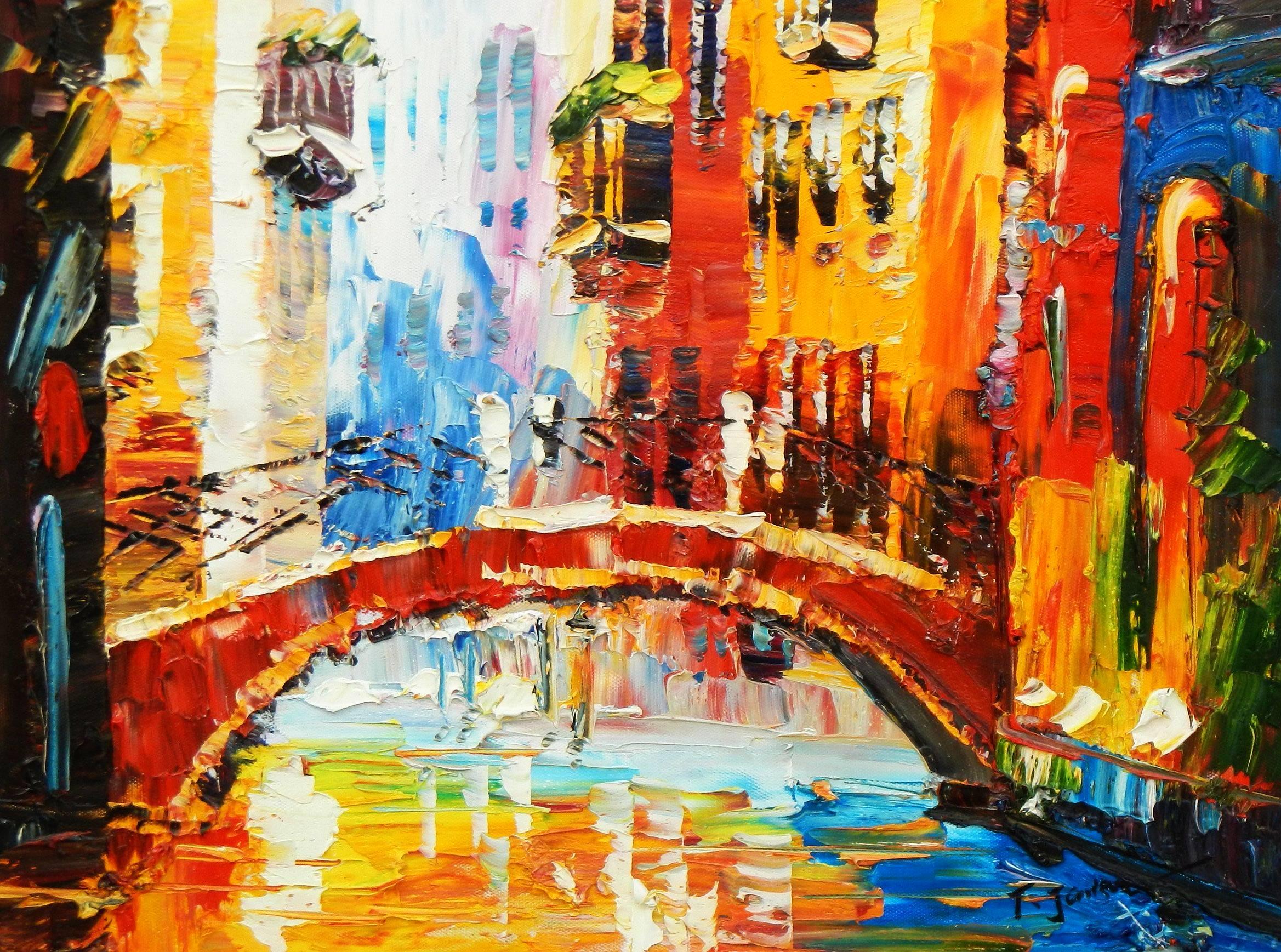Modern Art - Kanalansicht in Venedig a94782 30x40cm abstraktes Ölbild