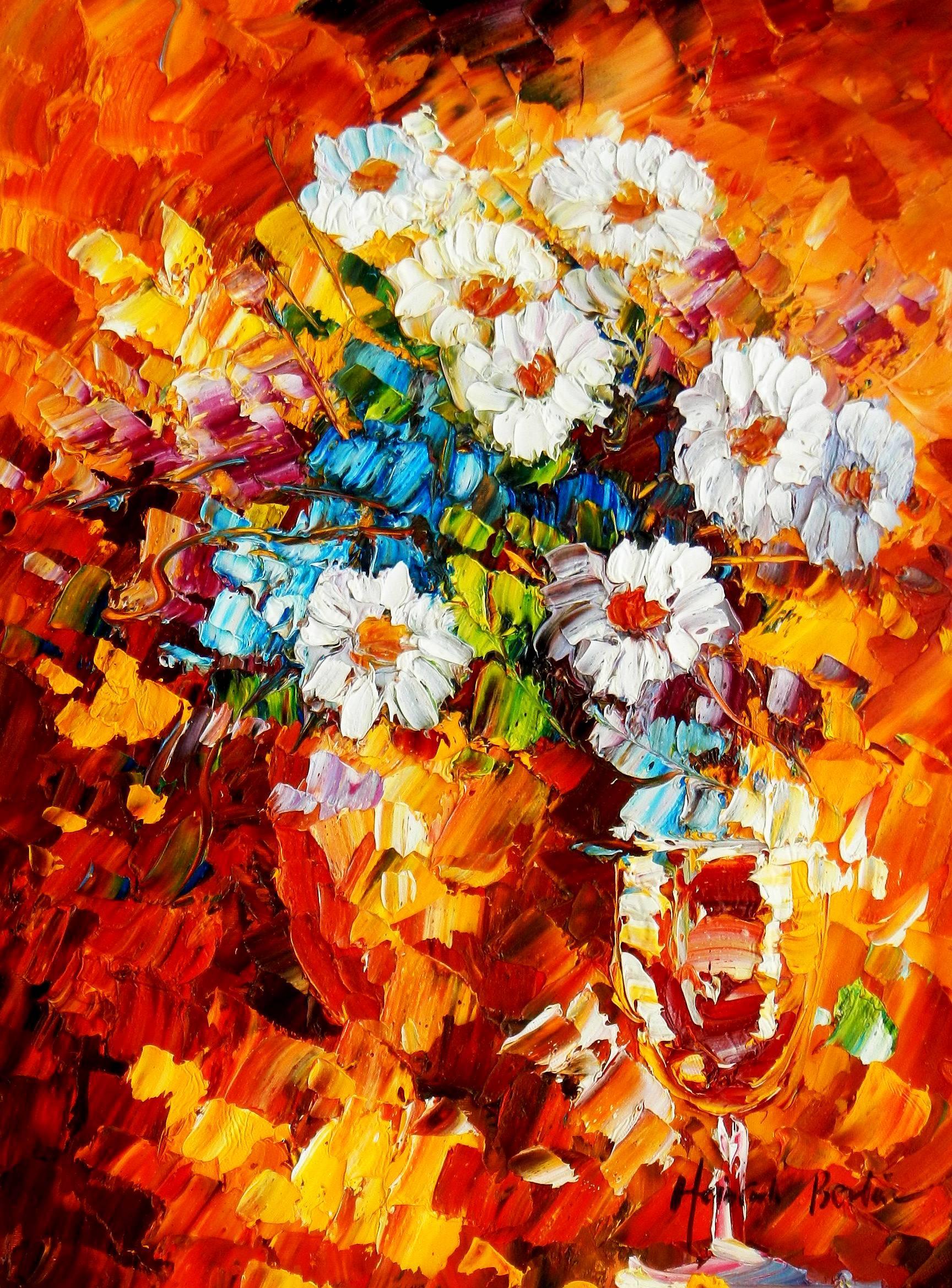 Modern Art - Abstraktes Blumengebinde a94785 30x40cm Ölgemälde handgemalt