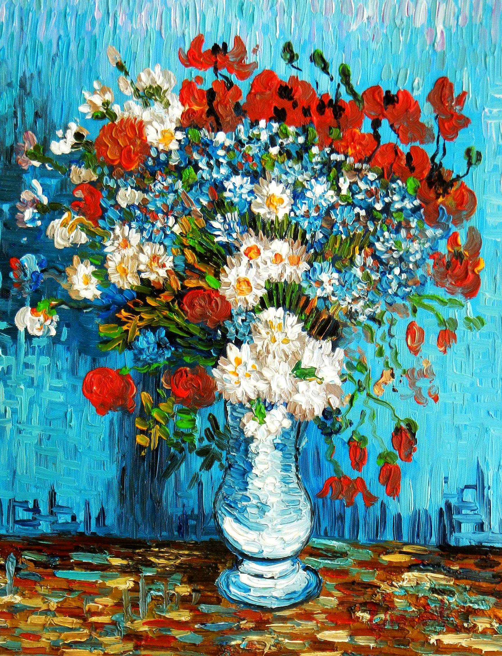 Vincent van Gogh - Vase mit Kornblumen und Mohnblumen a94788 30x40cm Ölbild handgemalt