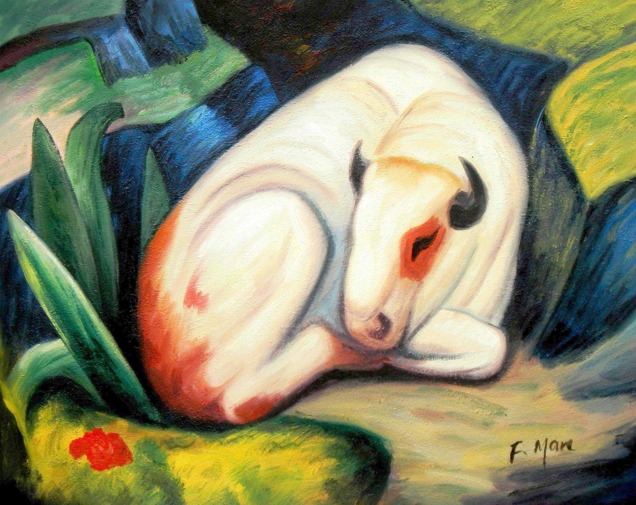 Franz Marc - Der weiße Bulle b94792 40x50cm Expressionismus Ölgemälde