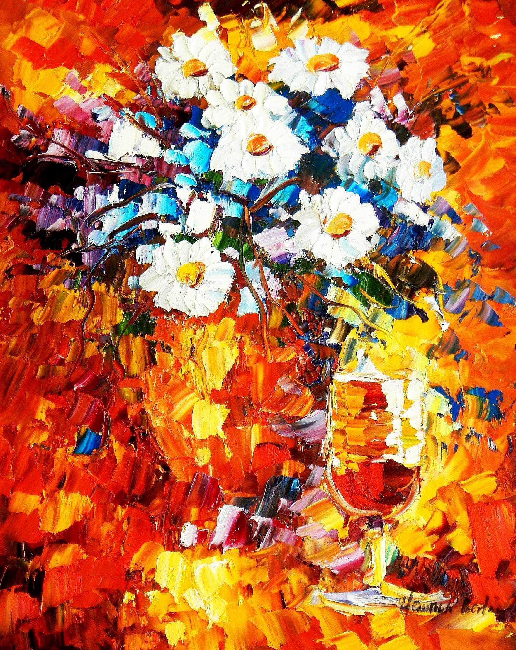 Modern Art - Abstraktes Blumengebinde b94796 40x50cm Ölgemälde handgemalt