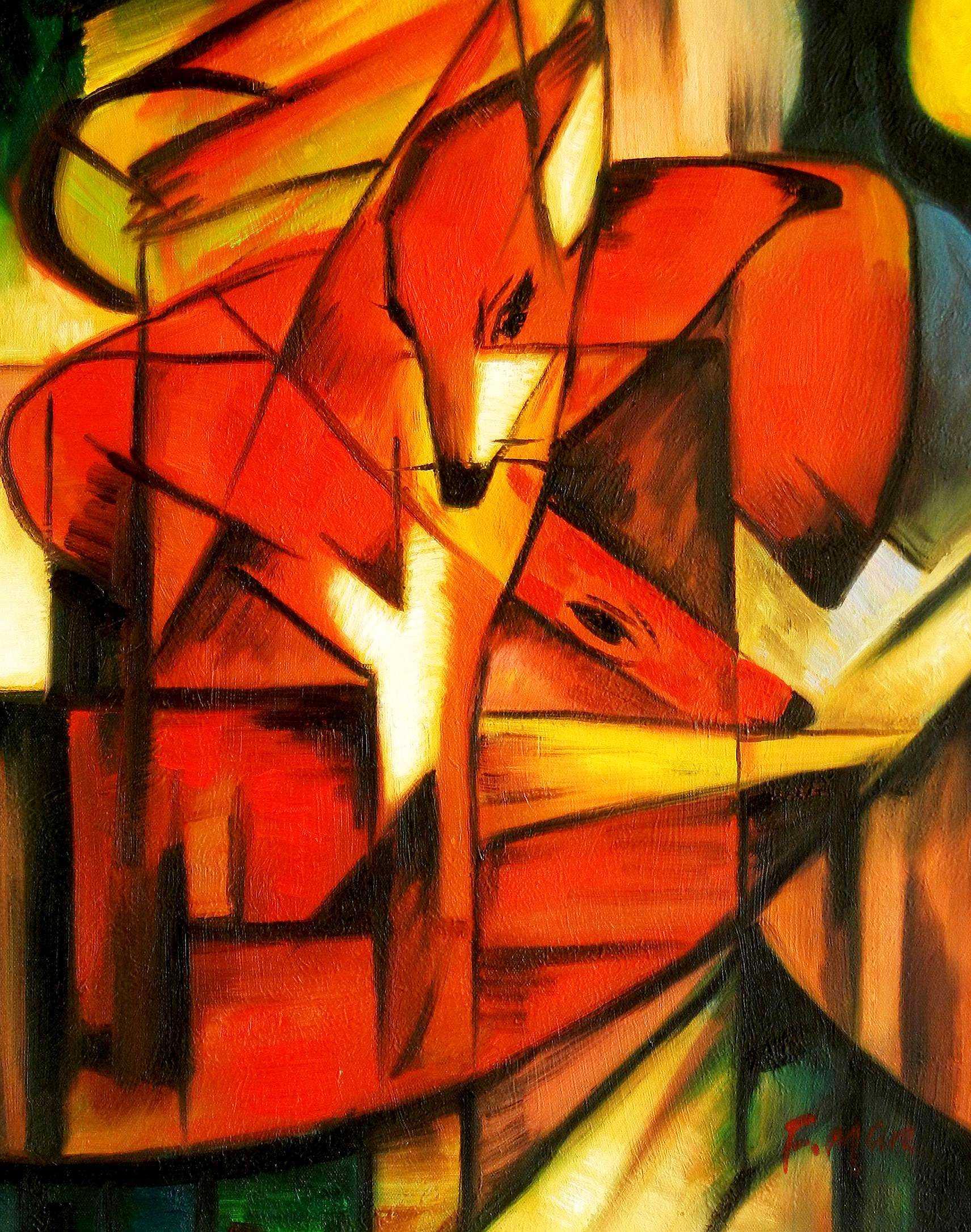 Franz Marc - Füchse b94799 40x50cm Expressionismus Ölgemälde handgemalt