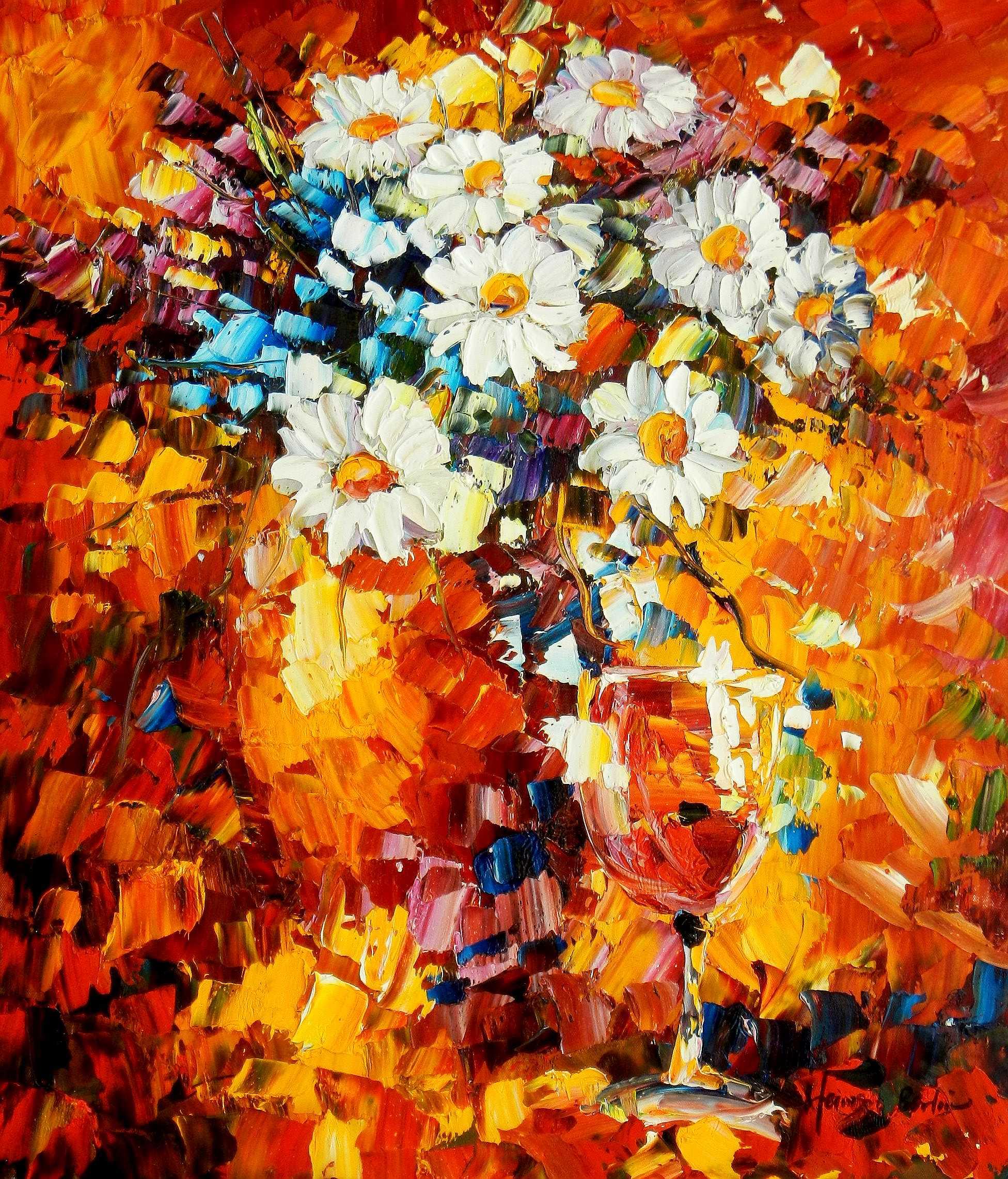 Modern Art - Abstraktes Blumengebinde c94806 50x60cm Ölgemälde ...