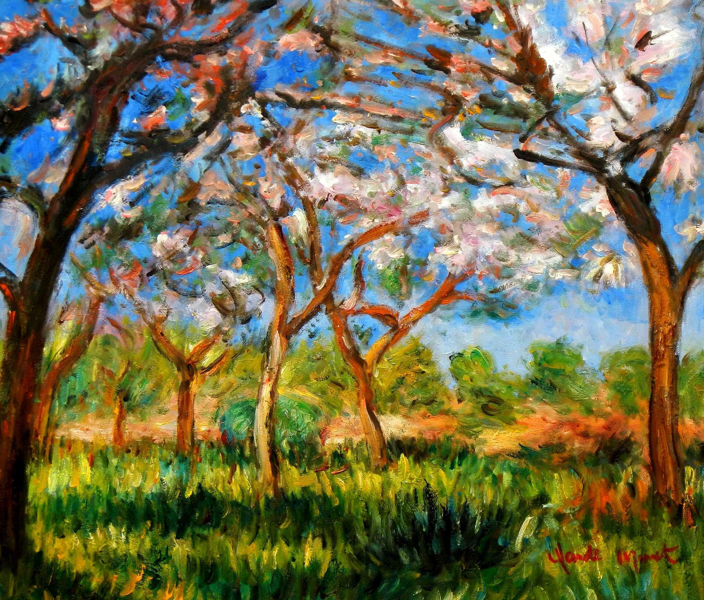 Claude Monet - Frühling in Giverny c94836 50x60cm exzellentes Ölgemälde