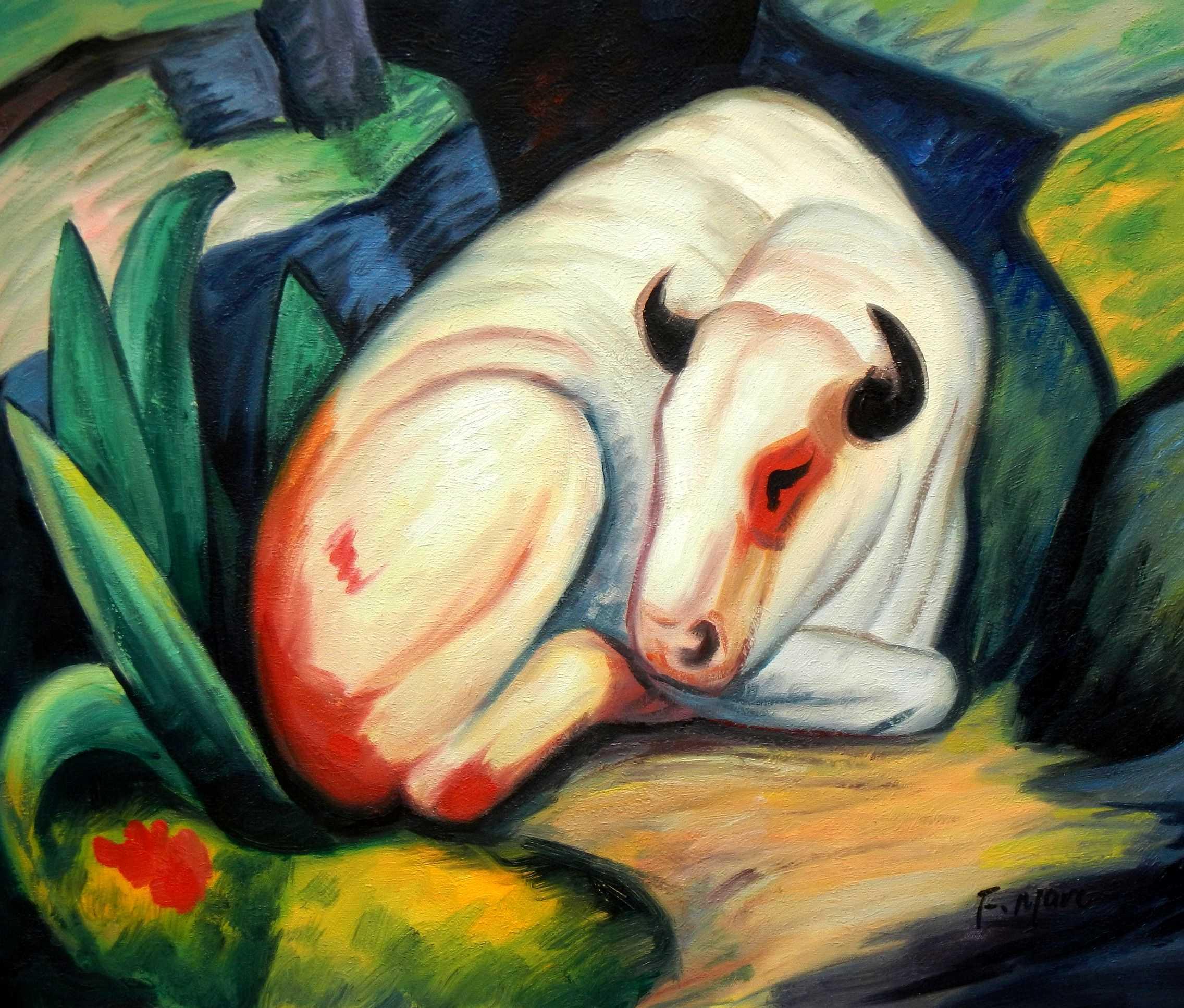 Franz Marc - Der weiße Bulle c94841 50x60cm Expressionismus Ölgemälde