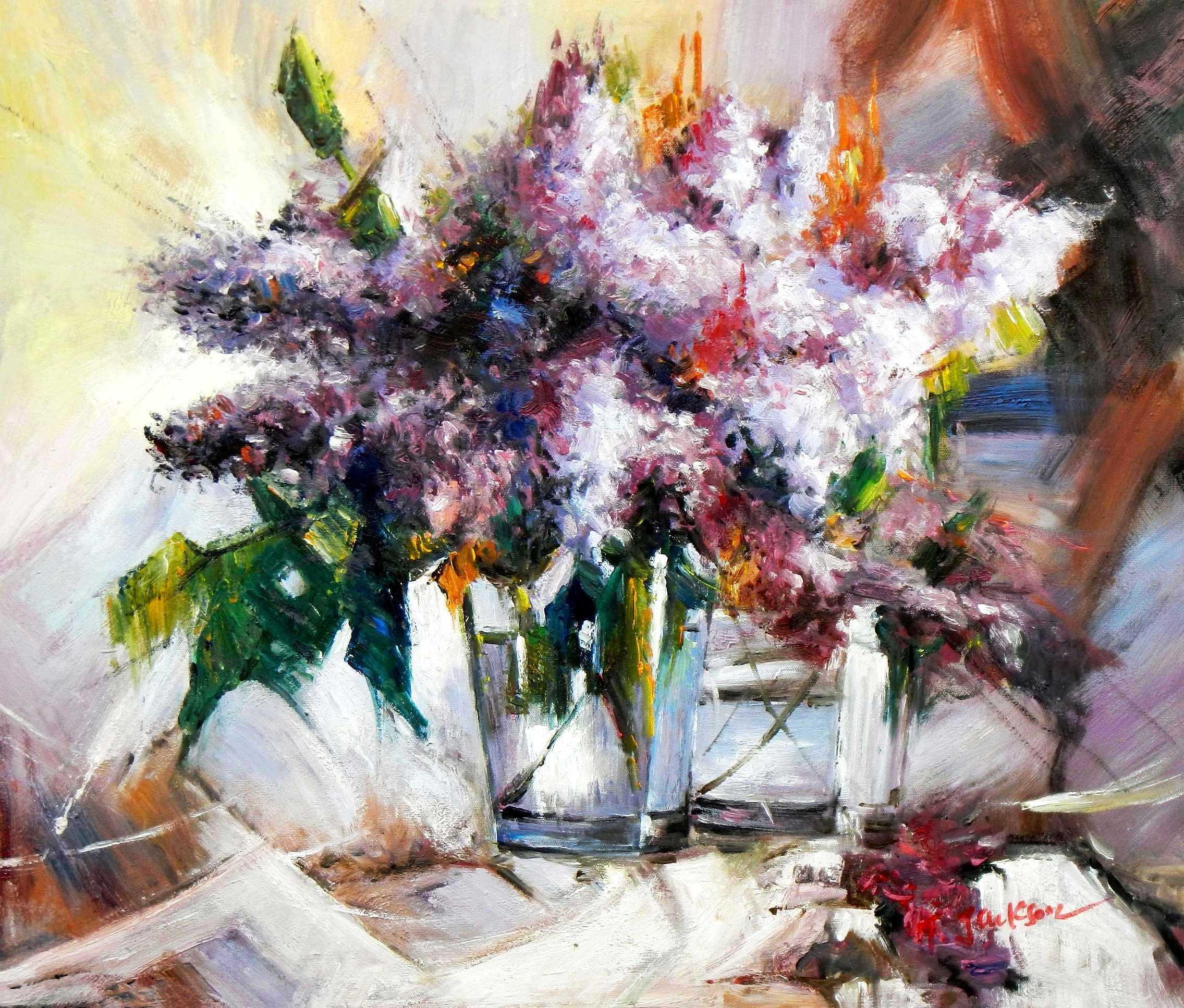 Modern Abstrakt - Vase mit violetten Blumen c94846 50x60cm handgemaltes Ölbild