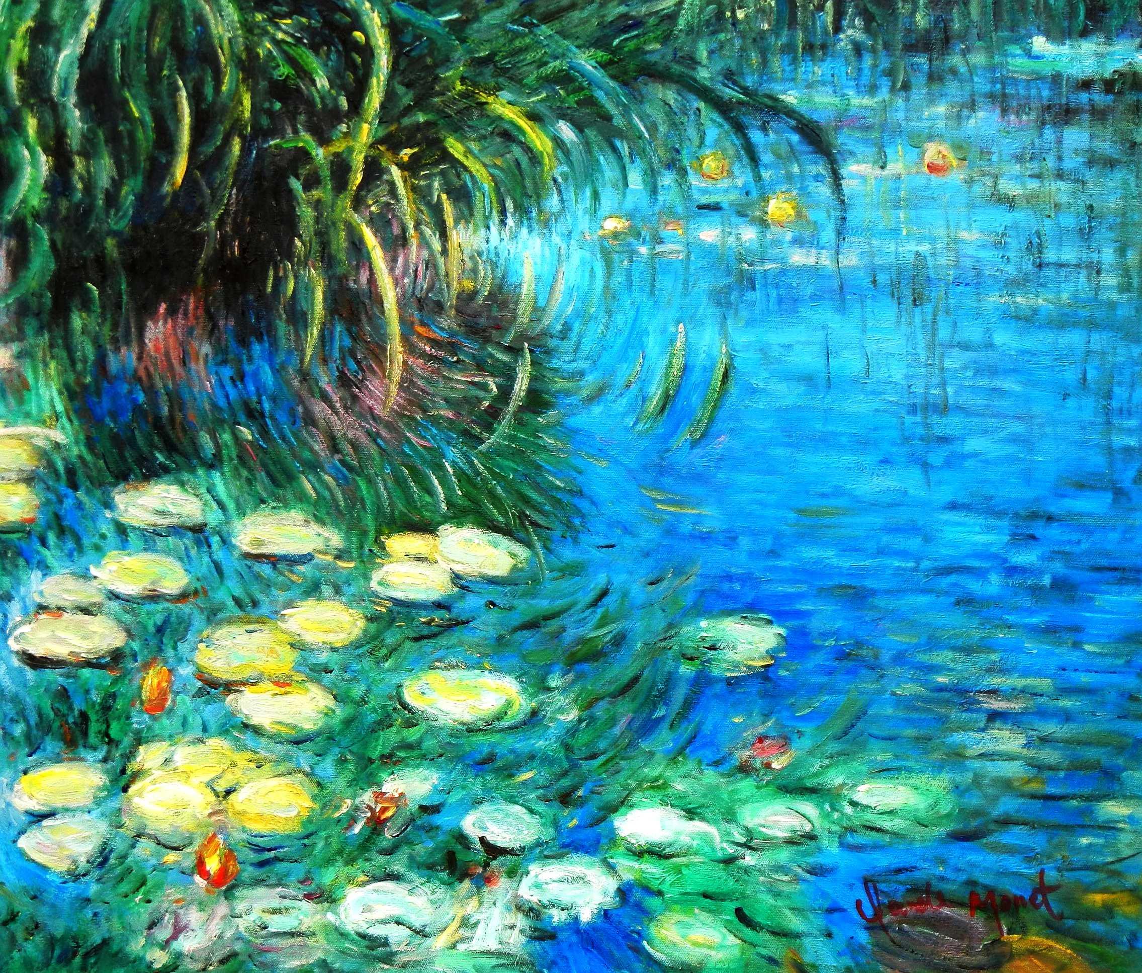 Claude Monet - Seerosen und Schilf c94850 50x60cm Ölgemälde handgemalt