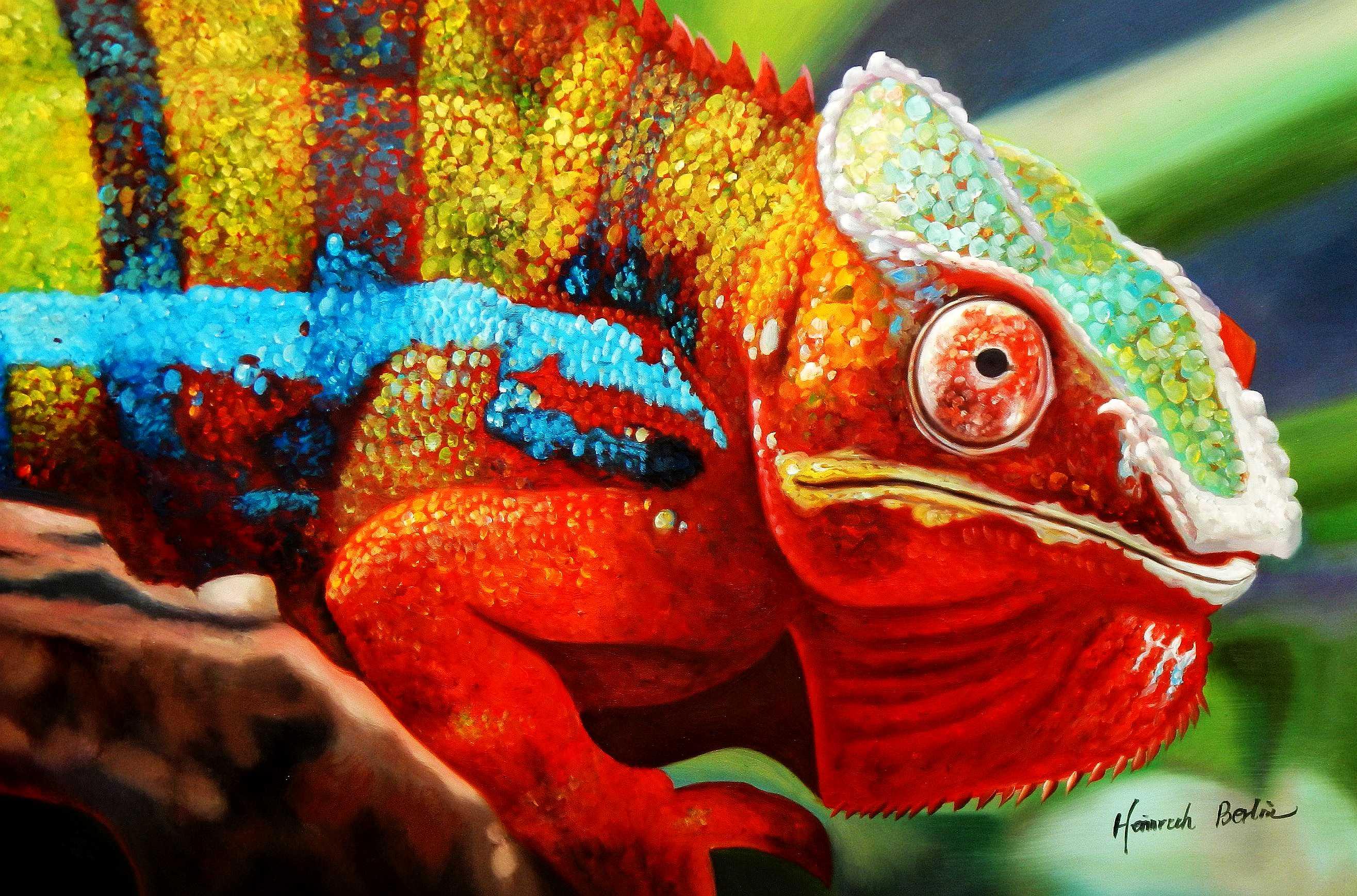 Modern Art - Chamäleon Farben der Natur d94873 60x90cm Ölbild handgemalt