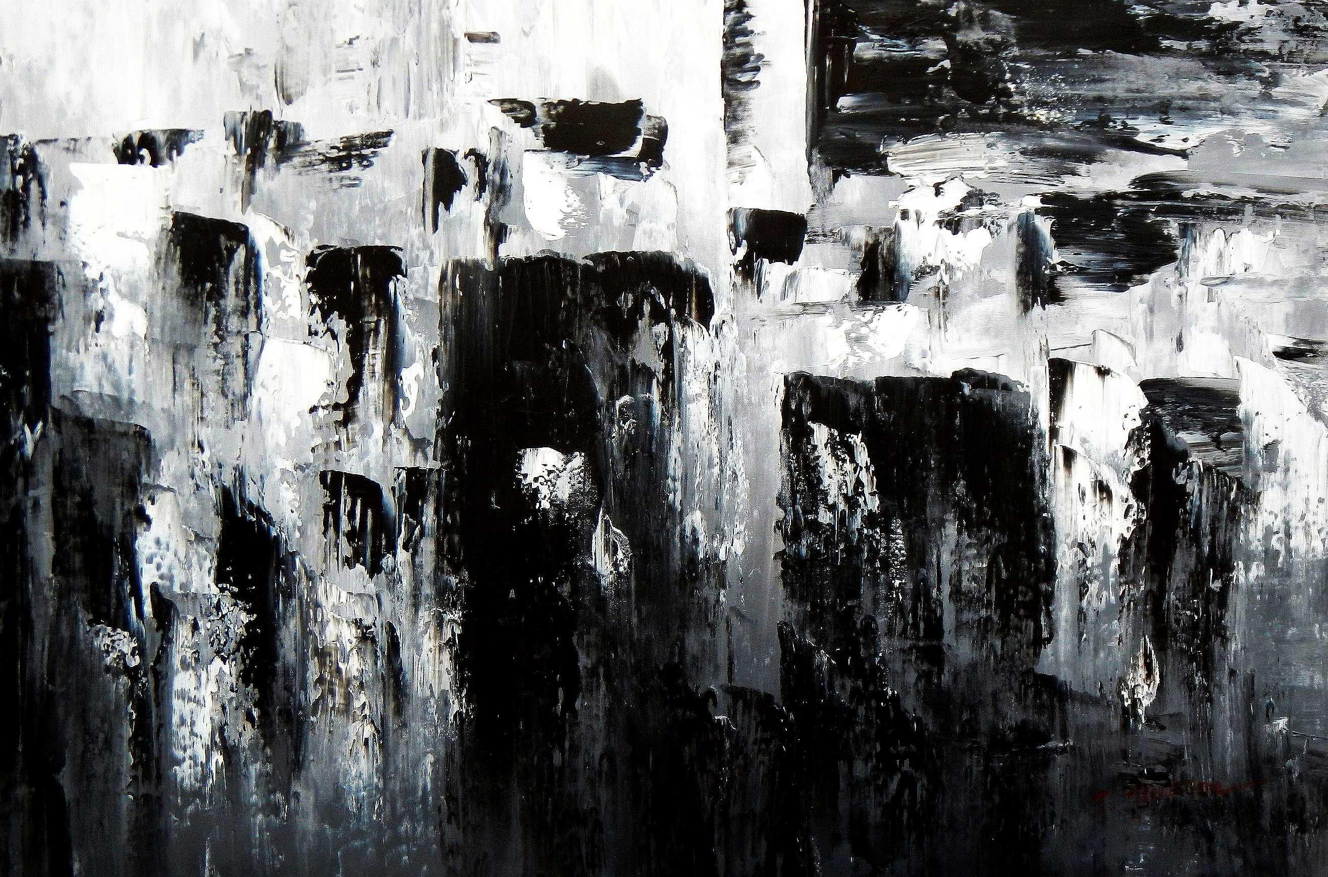 Abstrakt - Nacht in New York d94875 60x90cm Ölgemälde handgemalt