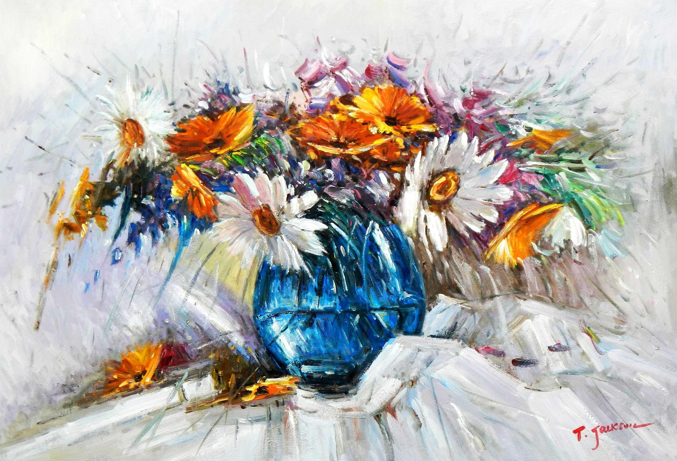 Modern Abstrakt - Vase mit bunten Blumen d94887 60x90cm abstraktes Ölbild handgemalt