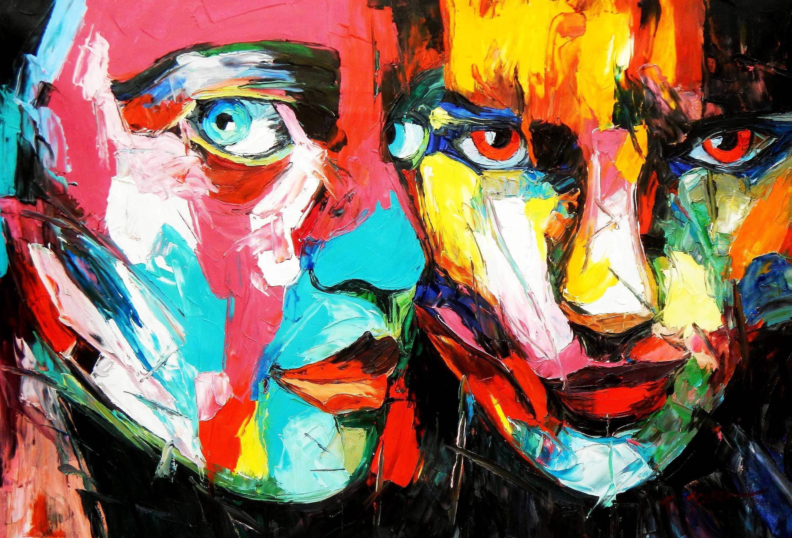 Modern Art - Die Aufmerksamkeit d94896 60x90cm beeindruckendes Ölgemälde