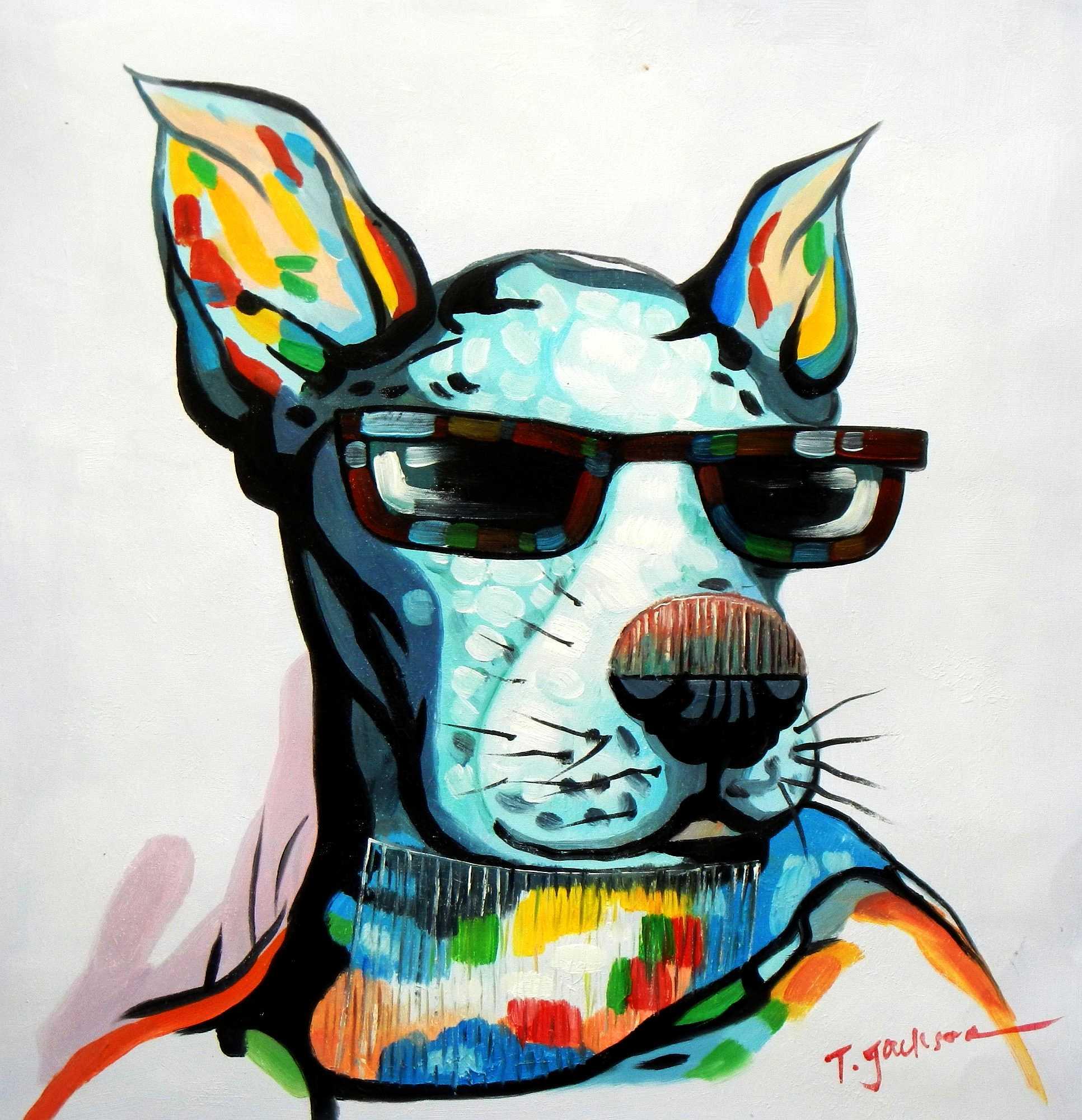 Modern Art - Dogge mit Sonnenbrille e94904 60x60cm Ölbild handgemalt