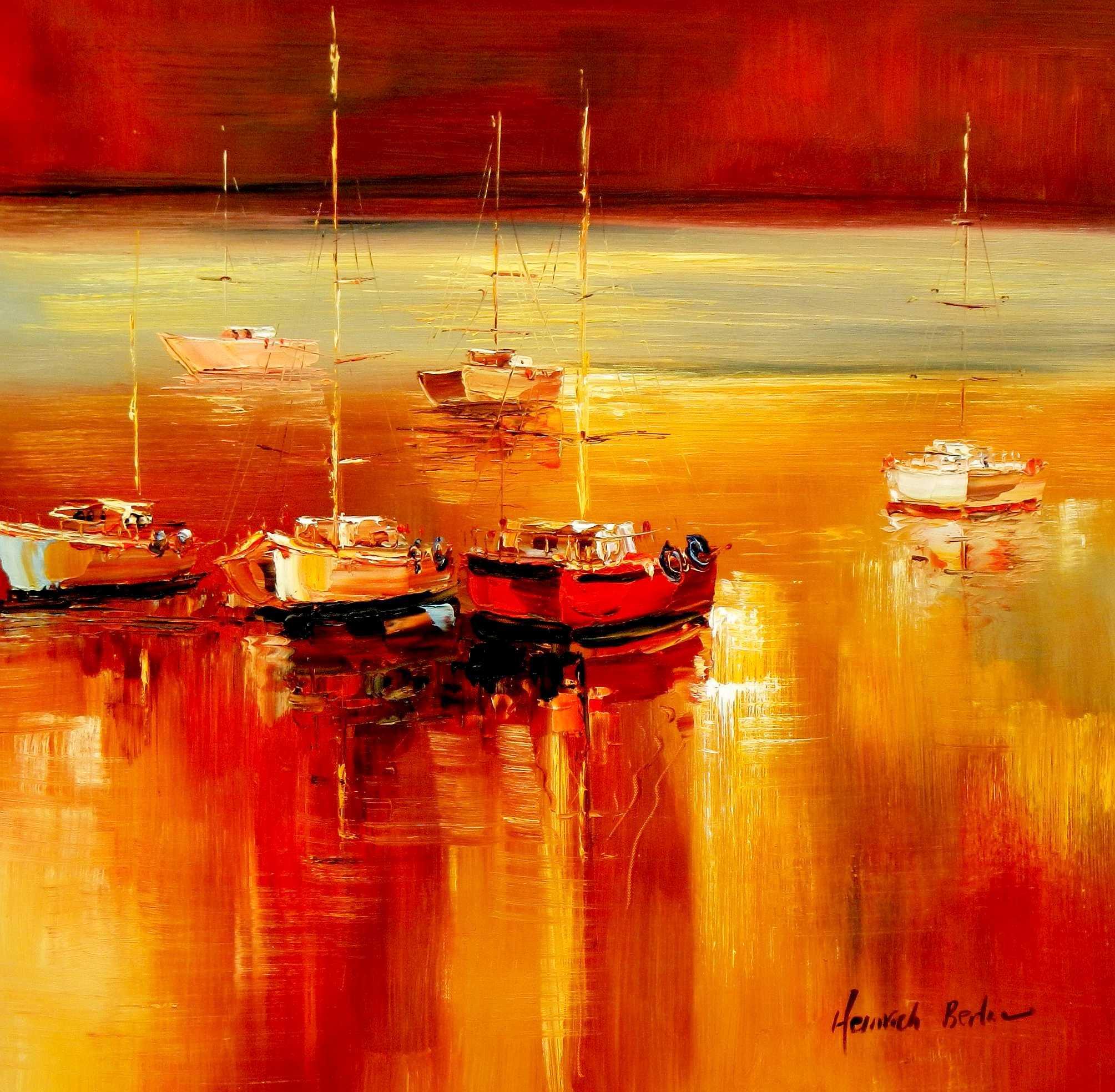 Segelboote auf dem Gardasee e94906 60x60cm modernes Gemälde handgemalt