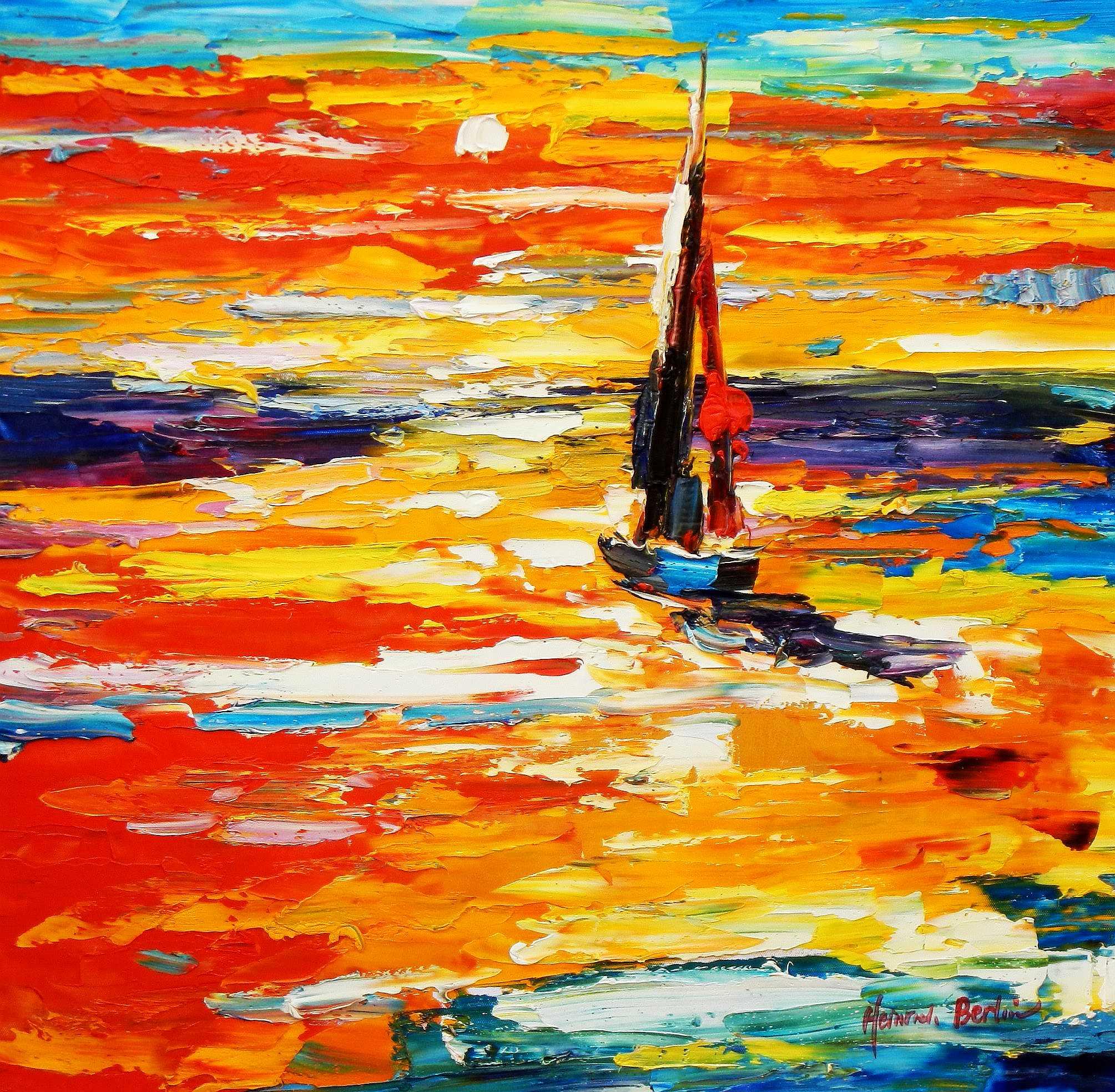Modern Art - Segelboot bei Amrum e94908 60x60cm exquisites Gemälde