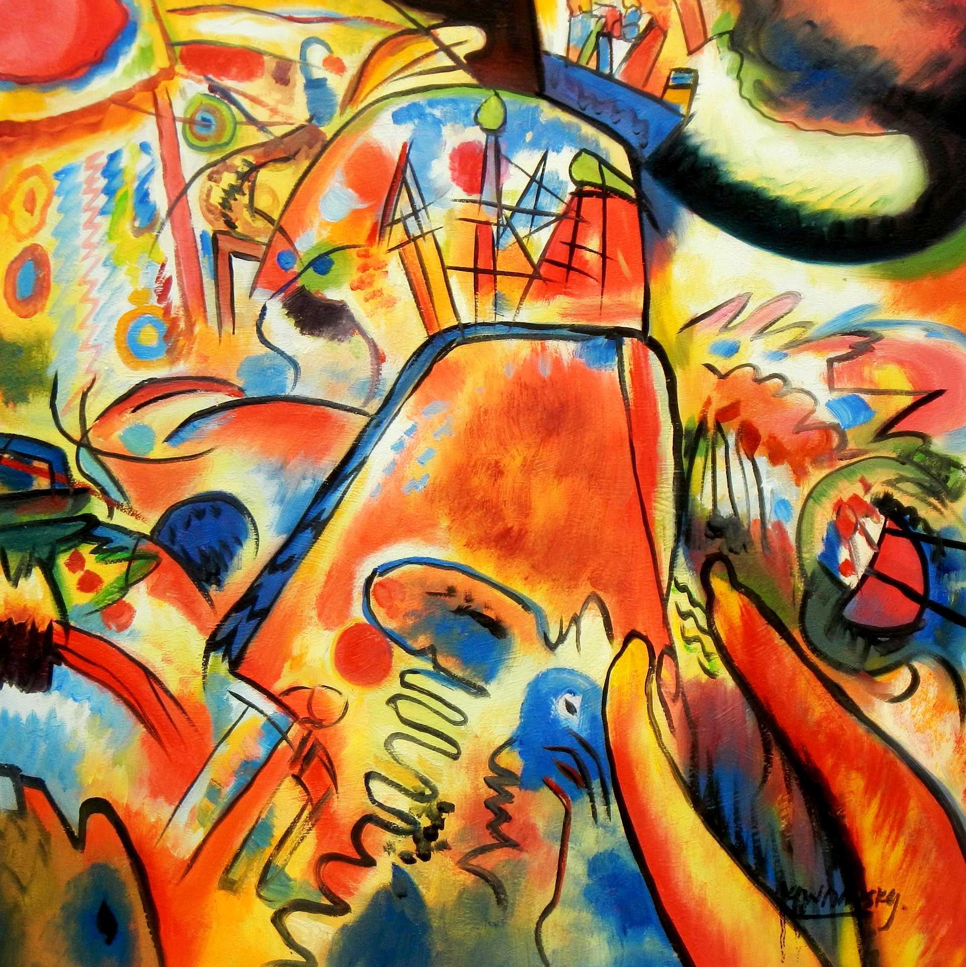 Wassily Kandinsky - Kleine Freuden e94910 60x60cm exquisites Gemälde