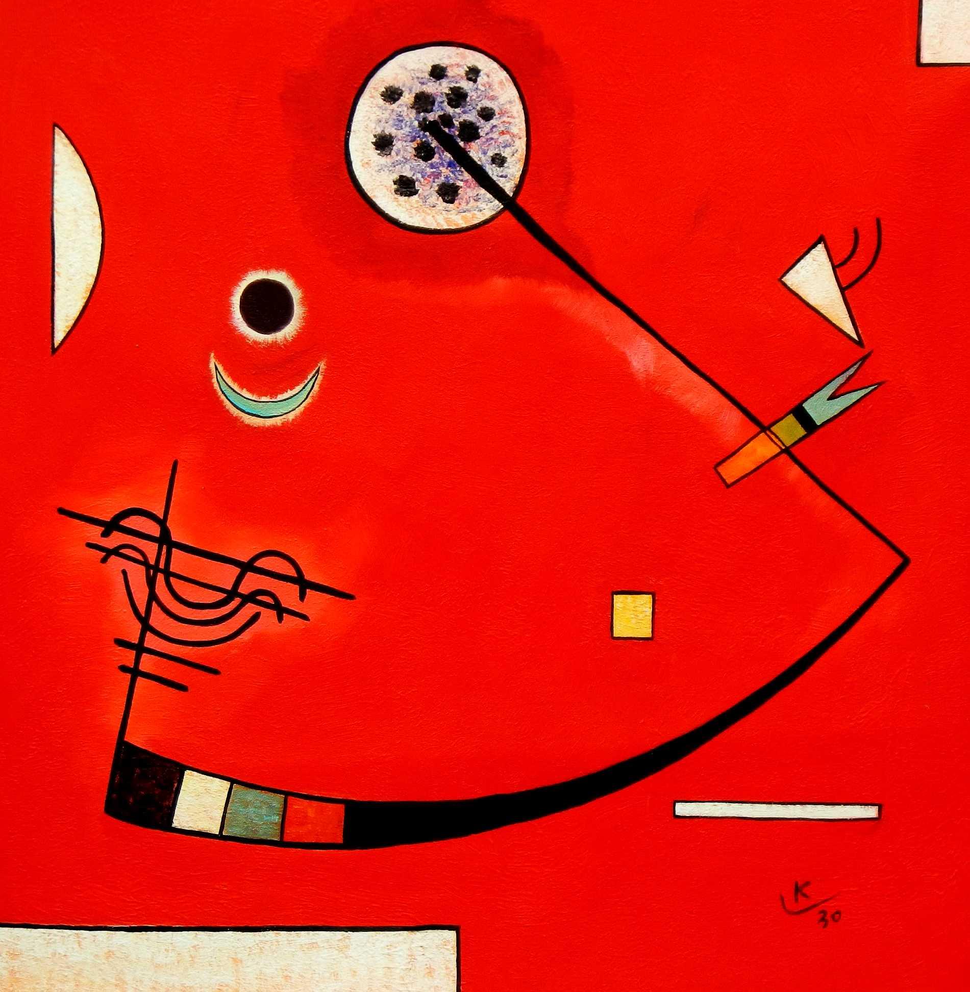 Wassily Kandinsky - Spannung in der Ecke e94912 60x60cm lustiges Ölbild