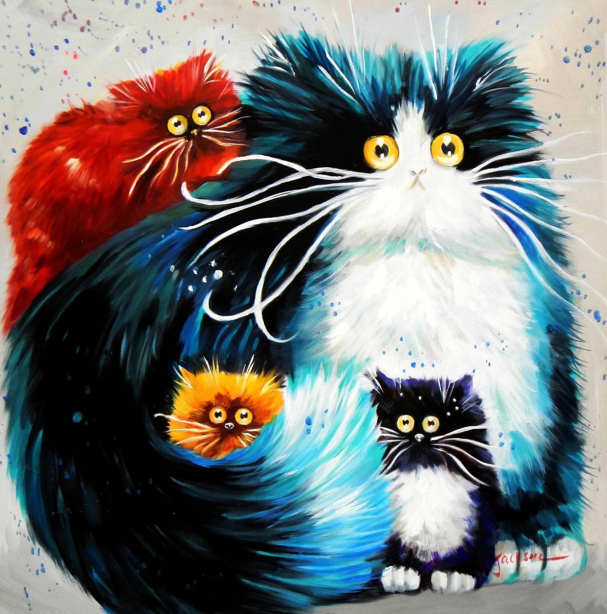 Pop Art - Pummeliges Katzenquartett e95068 60x60cm lustiges Ölbild