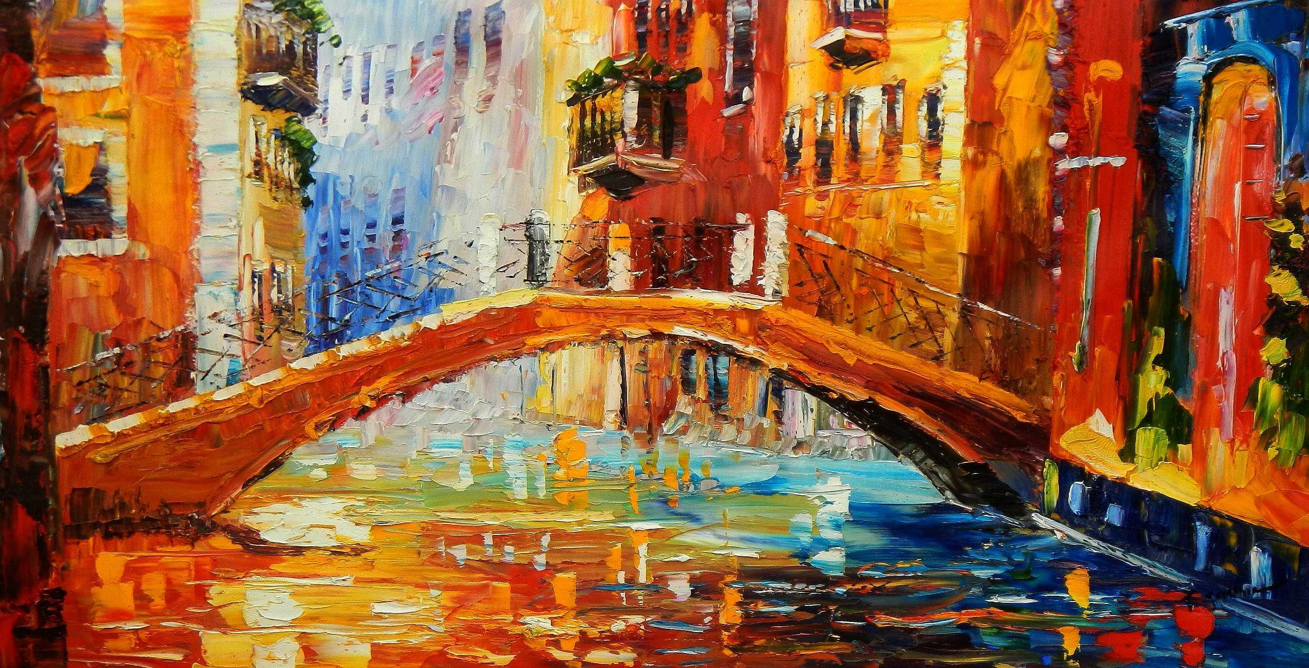 Modern Art - Kanalansicht in Venedig f94916 60x120cm abstraktes Ölbild