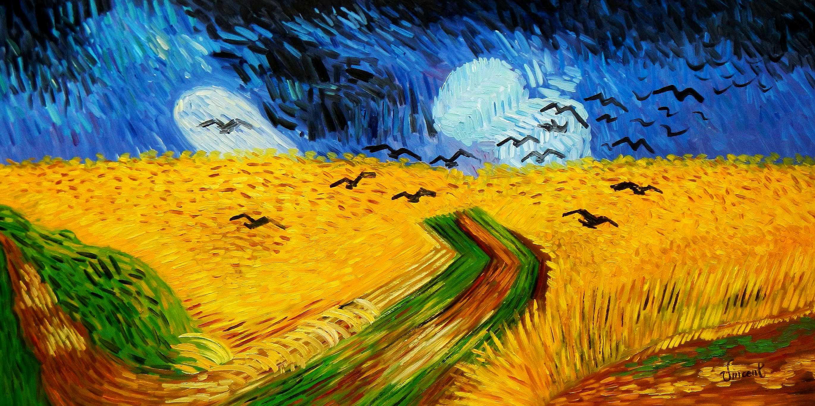 Vincent van Gogh - Kornfeld mit Krähen f94922 60x120cm Ölgemälde handgemalt