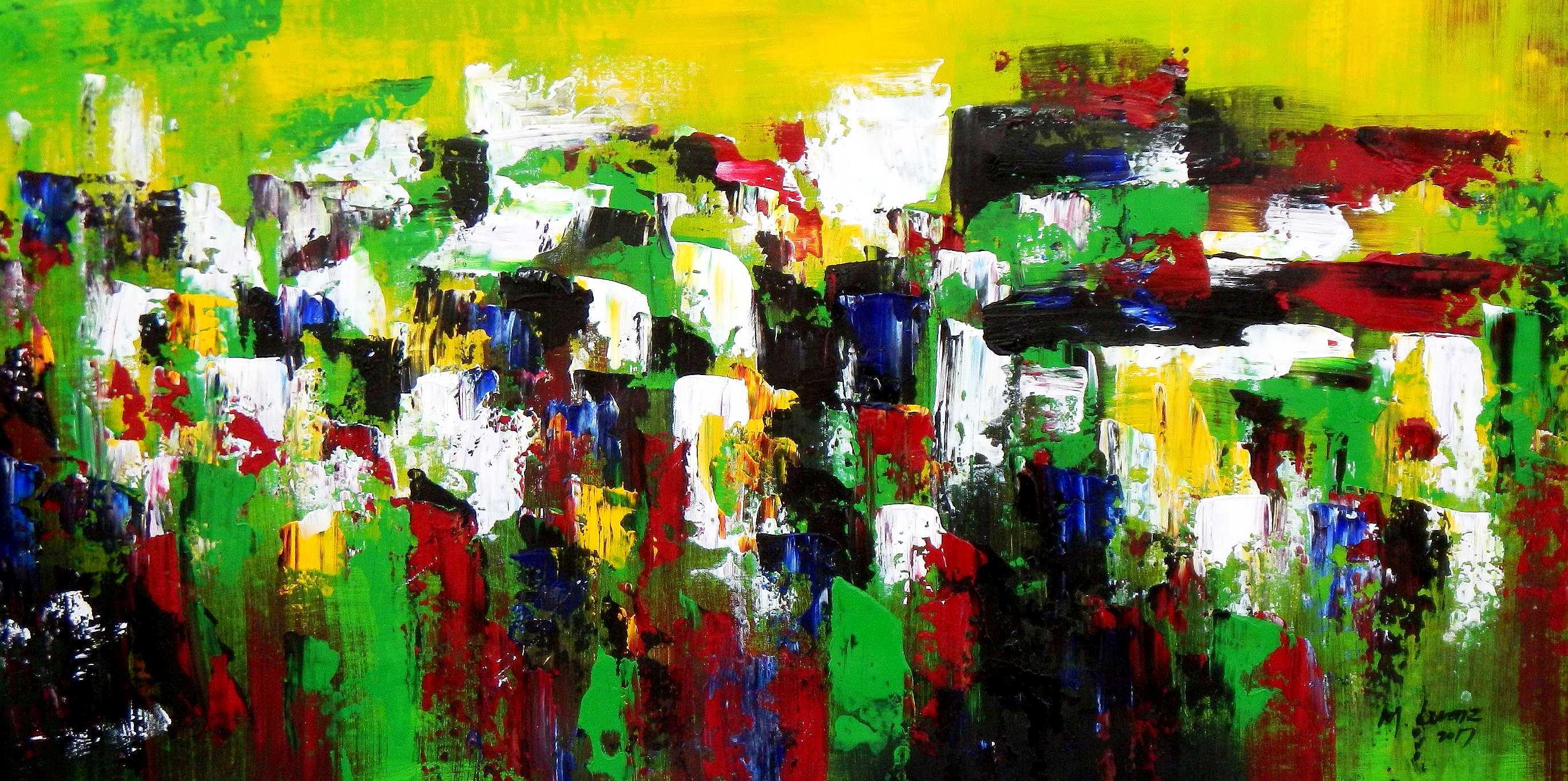 Abstrakt - Berlin Tiergarten f94924 60x120cm abstraktes Ölbild handgemalt