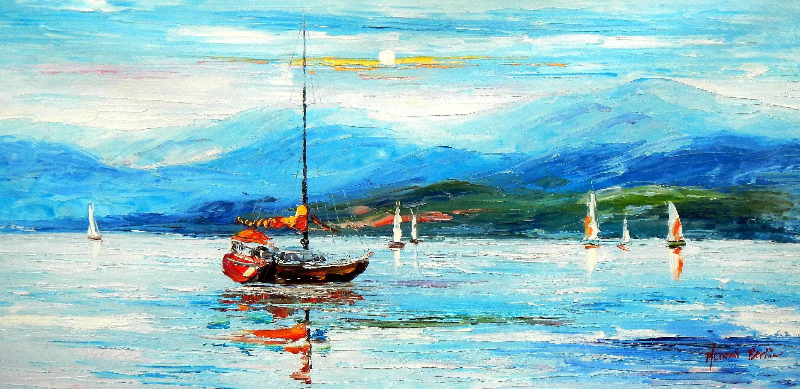 Modern Art - Segelboote auf dem Chiemsee f94929 60x120cm Ölbild
