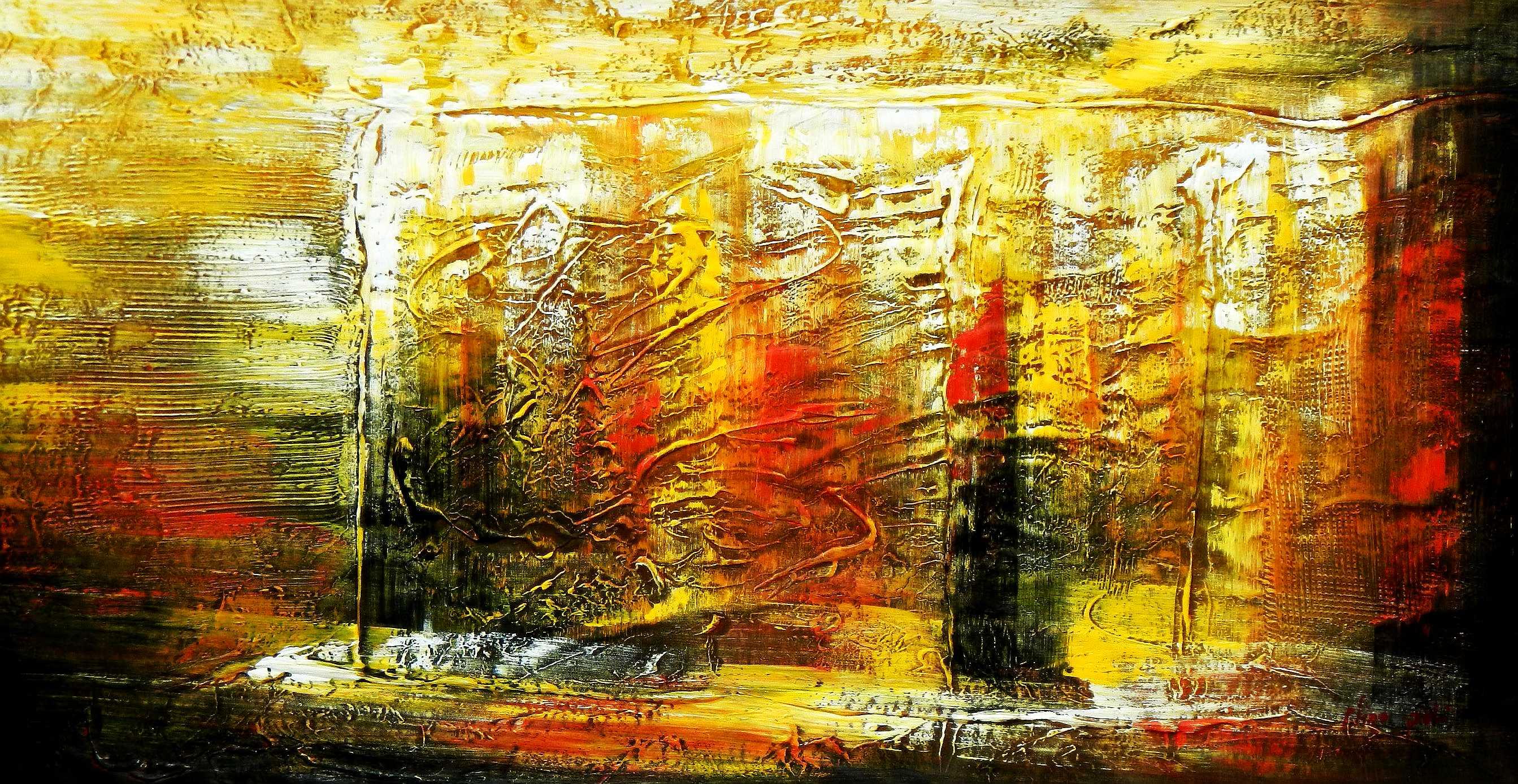 Abstrakt - Berlin am Lustgarten f94934 60x120cm Ölbild handgemalt