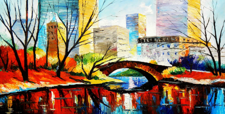 Modern Art - Central Park New York f94936 60x120cm Ölbild handgemalt