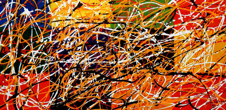 Homage of Pollock - Dripping over cubes f94941 60x120cm abstraktes Ölgemälde handgemalt
