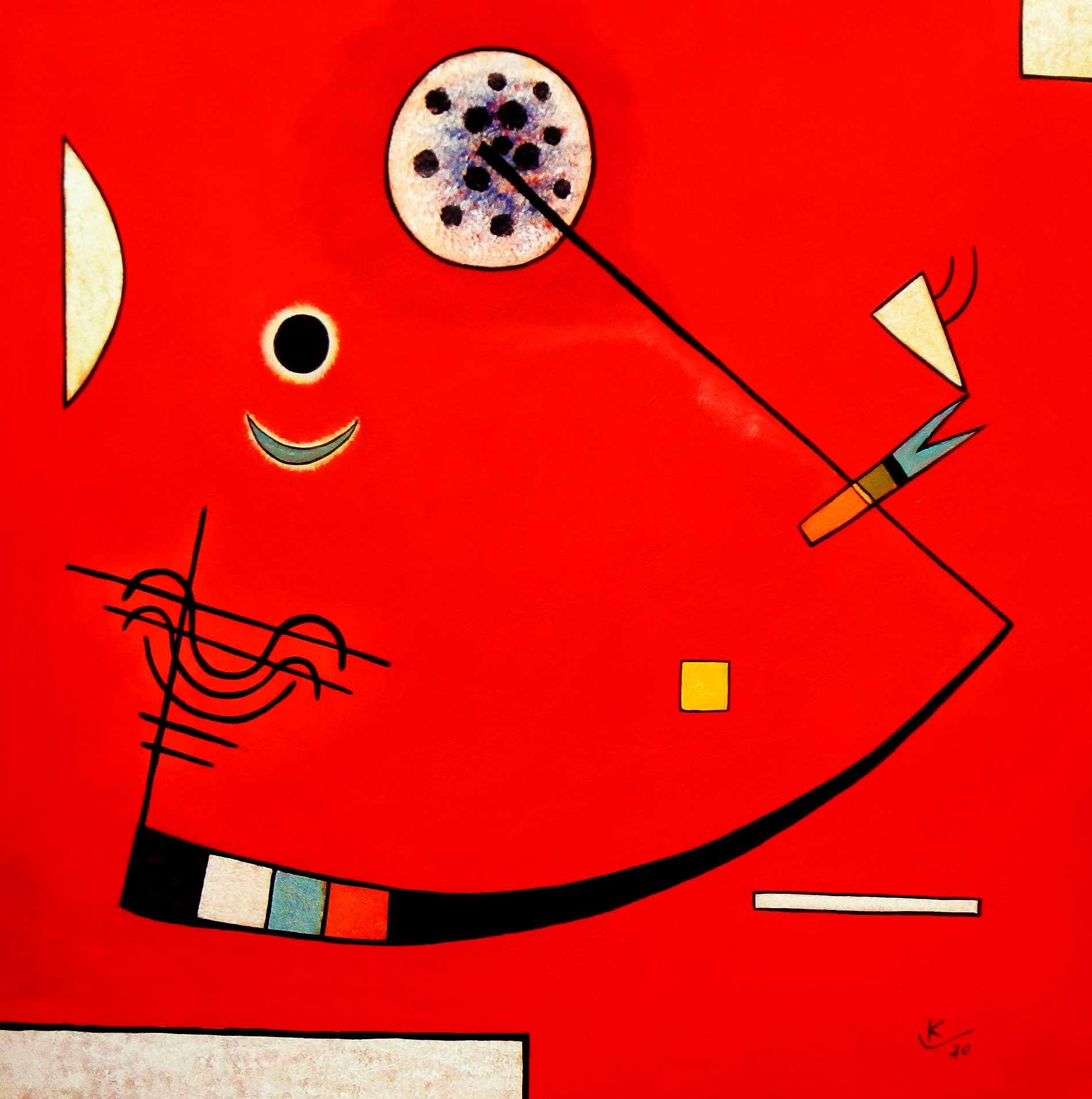 Wassily Kandinsky - Spannung in der Ecke g94963 80x80cm lustiges Ölbild