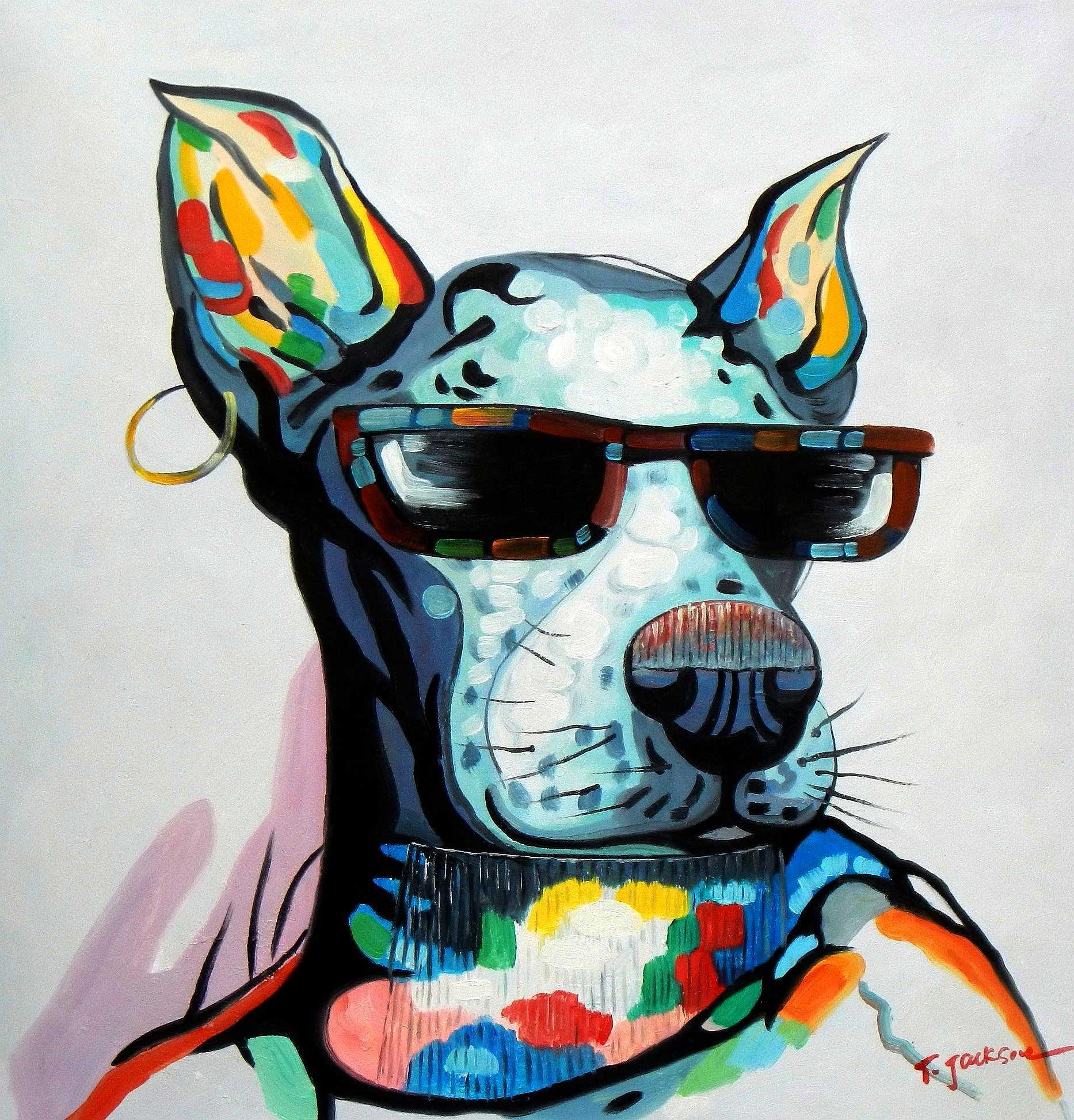 Modern Art - Dogge mit Sonnenbrille g94970 80x80cm Ölbild handgemalt