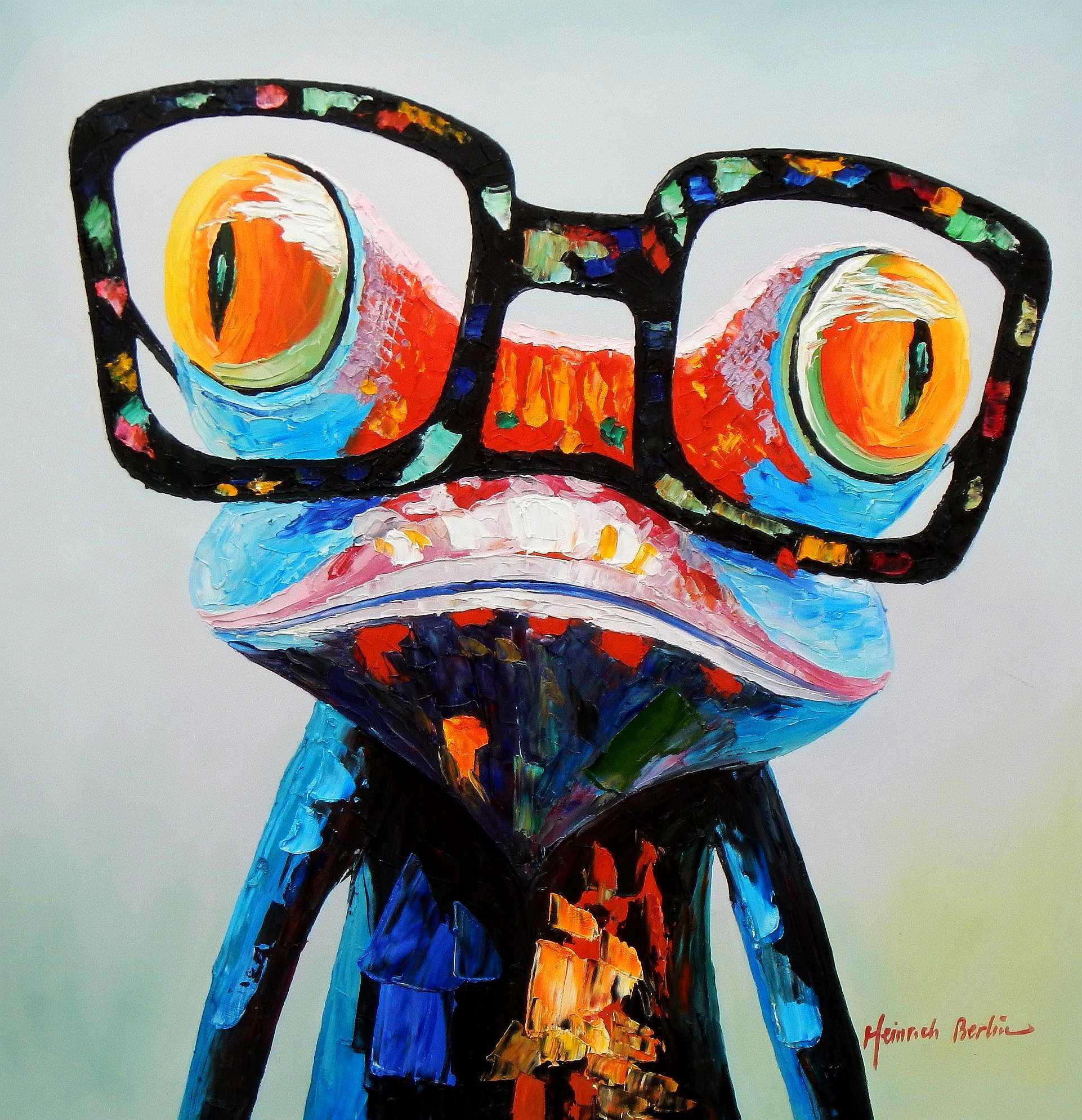 Modern Art - Woody der Frosch g94971 80x80cm fantastisches Ölbild