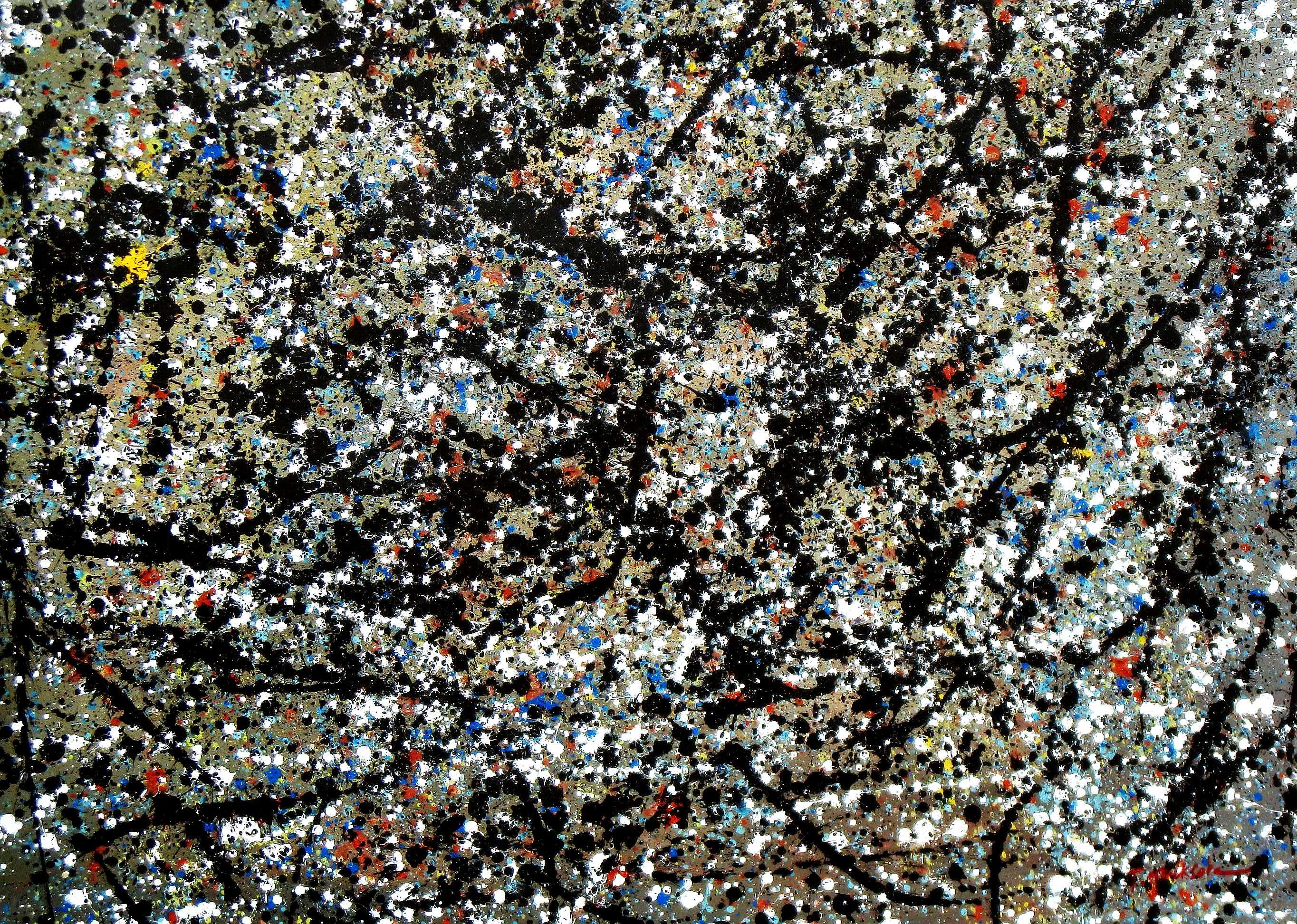 Autumn Rhythm Homage of Pollock i94982 80x110cm abstraktes Ölgemälde handgemalt