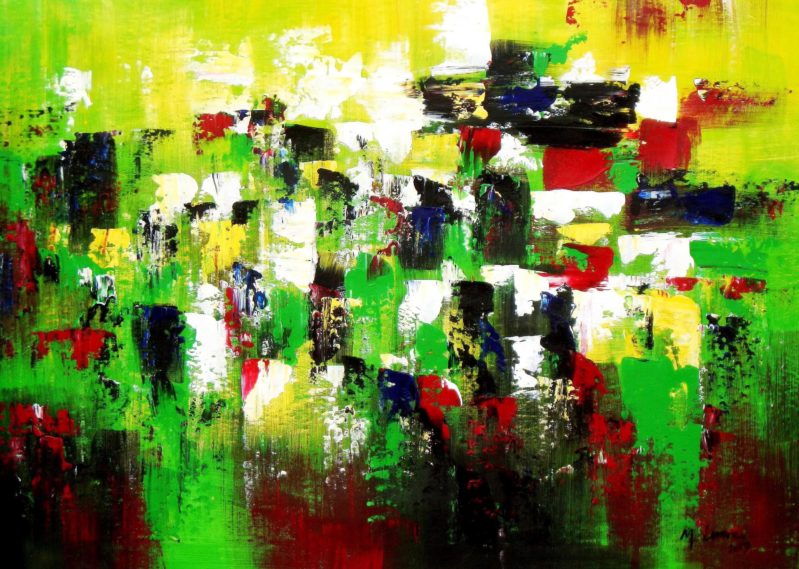 Abstrakt - Berlin Tiergarten i94983 80x110cm abstraktes Ölbild handgemalt