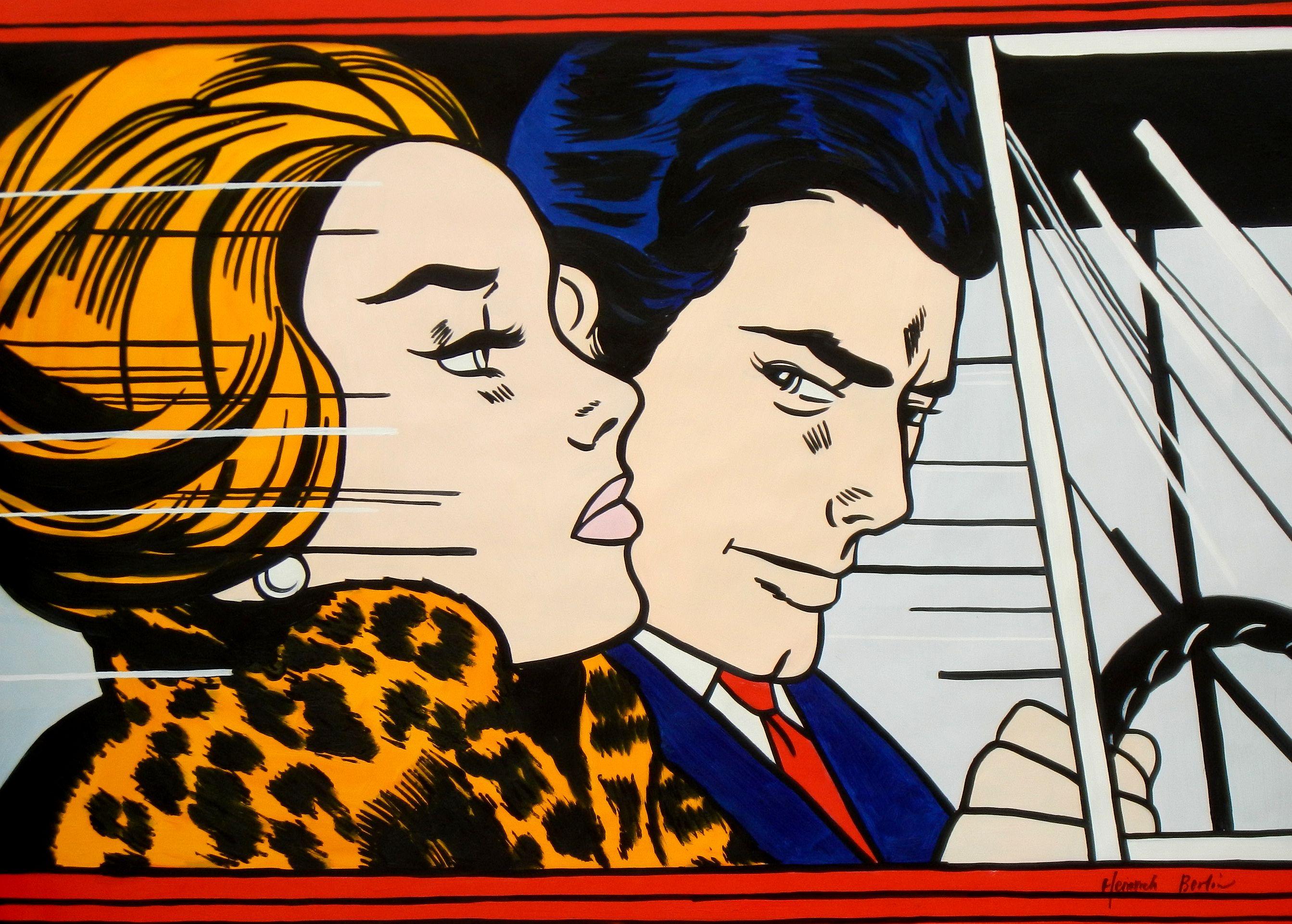 Homage to Roy Lichtenstein - In the car i94989 80x110cm modernes Ölgemälde