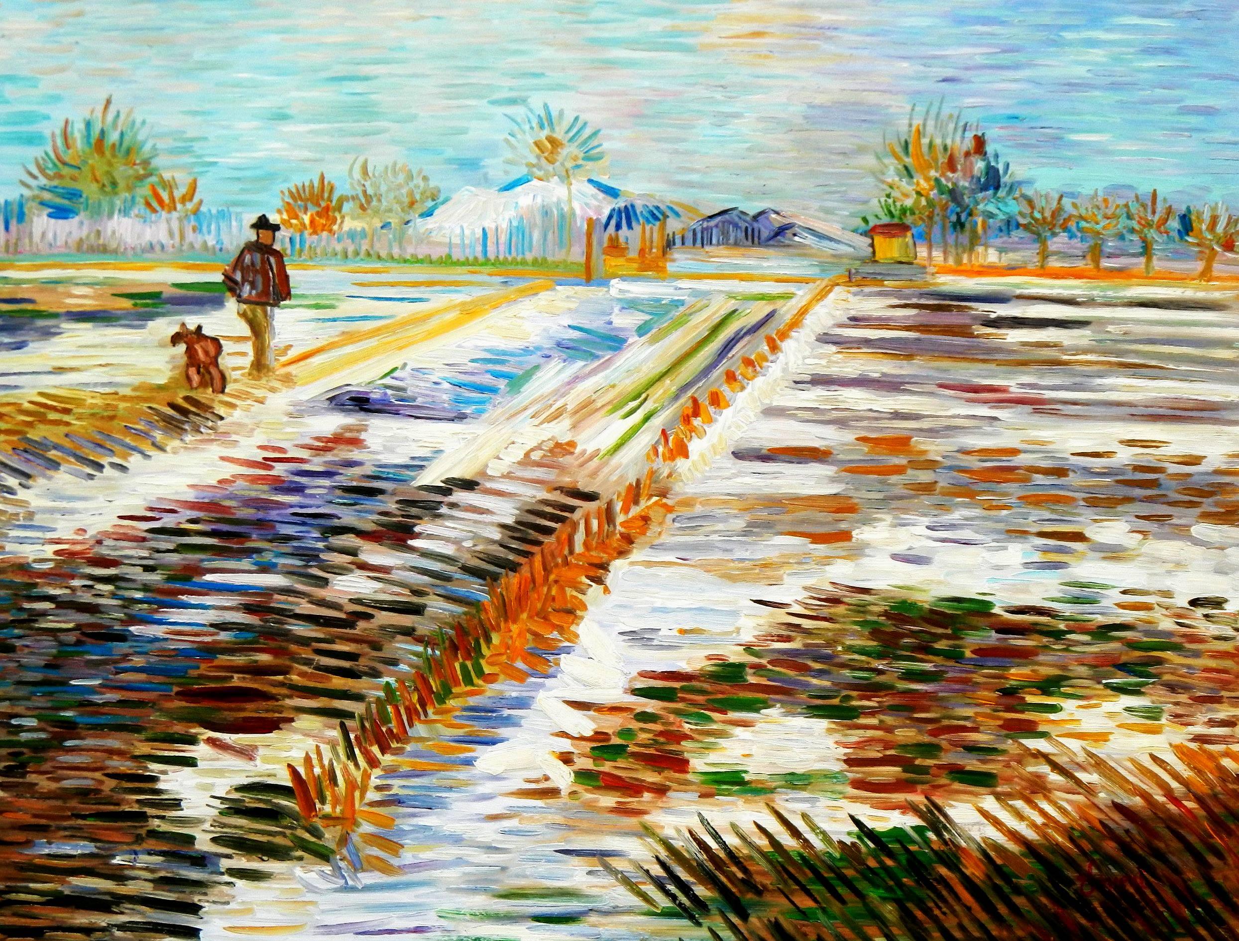 Vincent van Gogh - Landschaft mit Schnee k95003 90x120cm Ölbild handgemalt