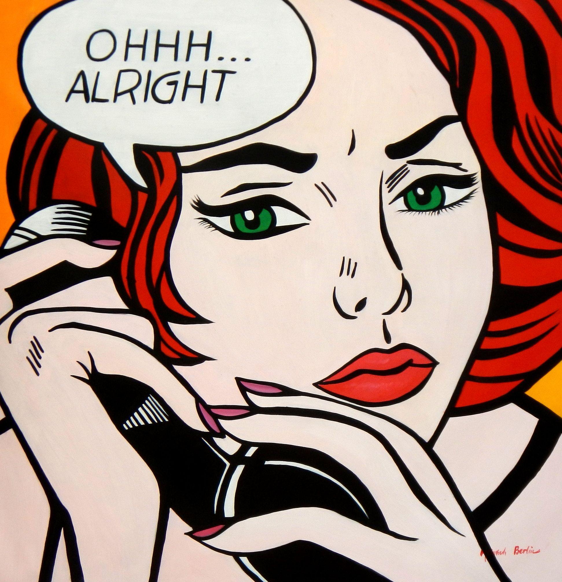 Homage to Roy Lichtenstein - Alright m95019 120x120cm exzellentes Ölgemälde