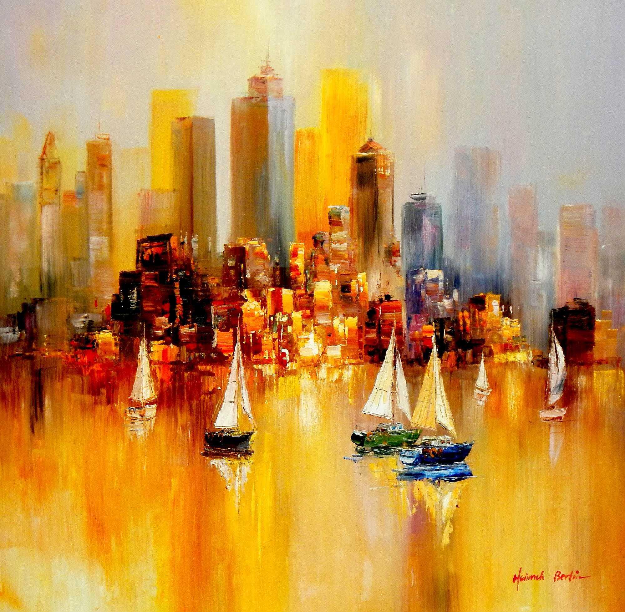 Segelboote auf dem Gardasee m95020 120x120cm modernes Gemälde handgemalt
