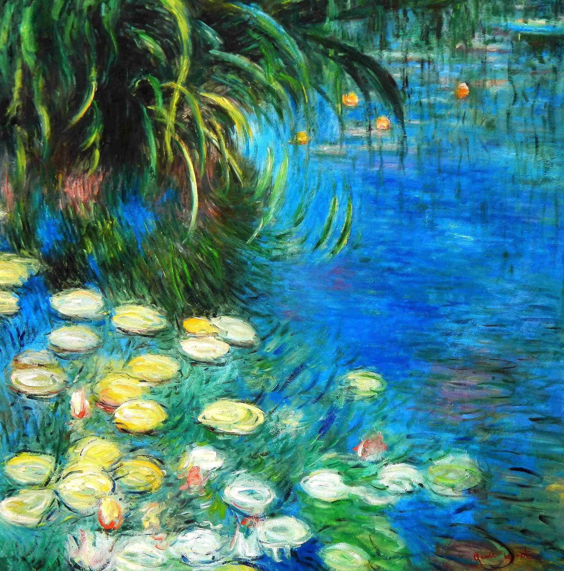 Claude Monet - Seerosen und Schilf m95028 120x120cm Ölgemälde handgemalt
