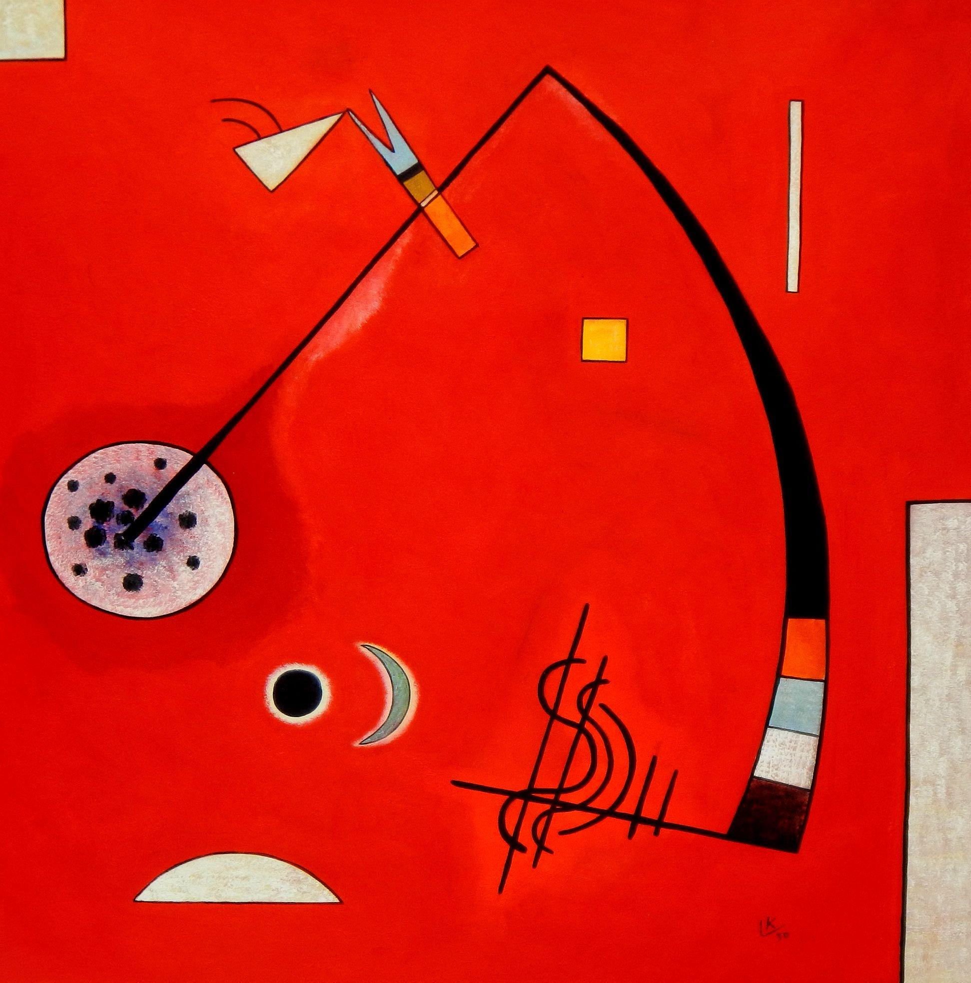 Wassily Kandinsky - Spannung in der Ecke m95030 120x120cm lustiges Ölbild