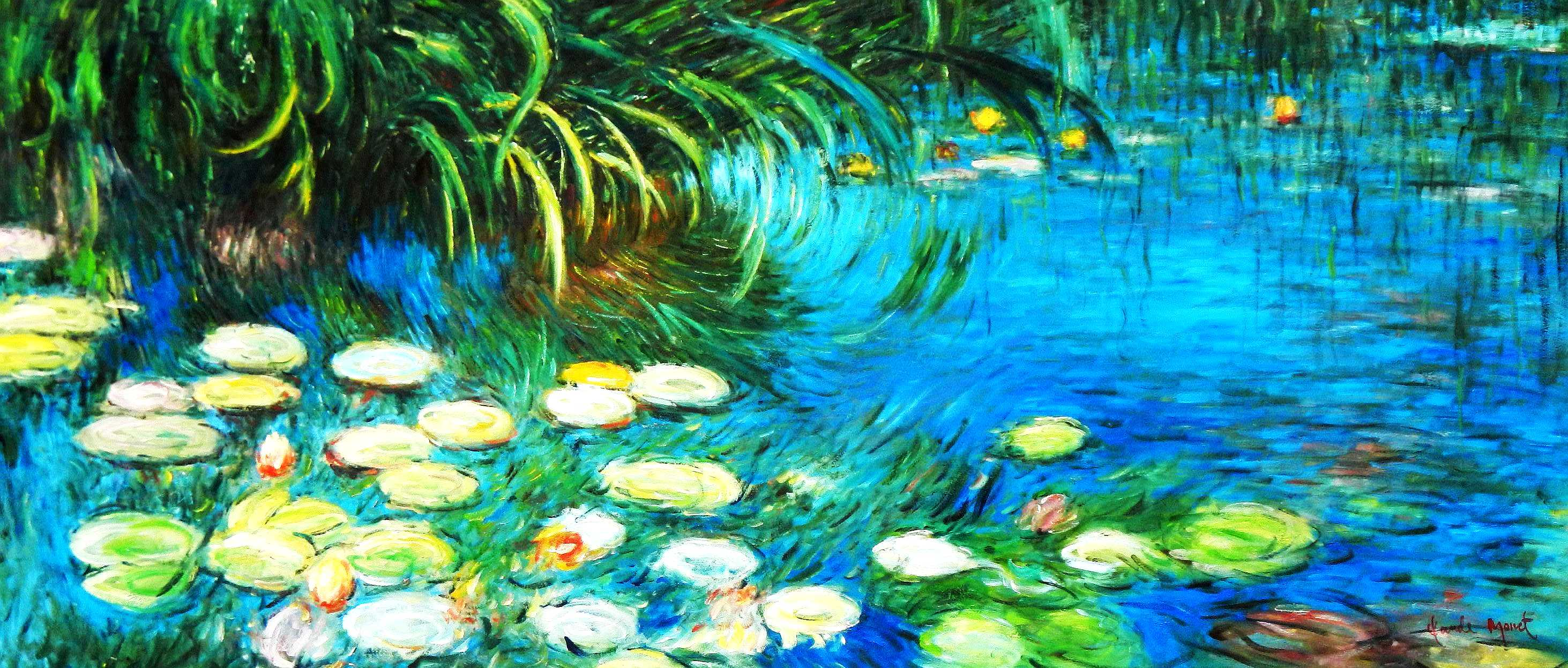 Claude Monet - Seerosen und Schilf t95043 75x180cm Ölgemälde handgemalt