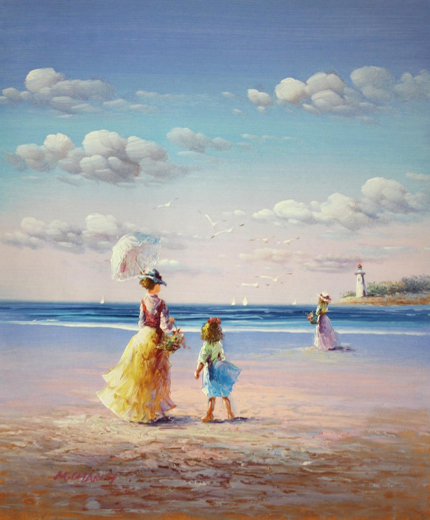 Sylt - Spaziergang am Strand c94350 50x60cm exzellentes Gemälde