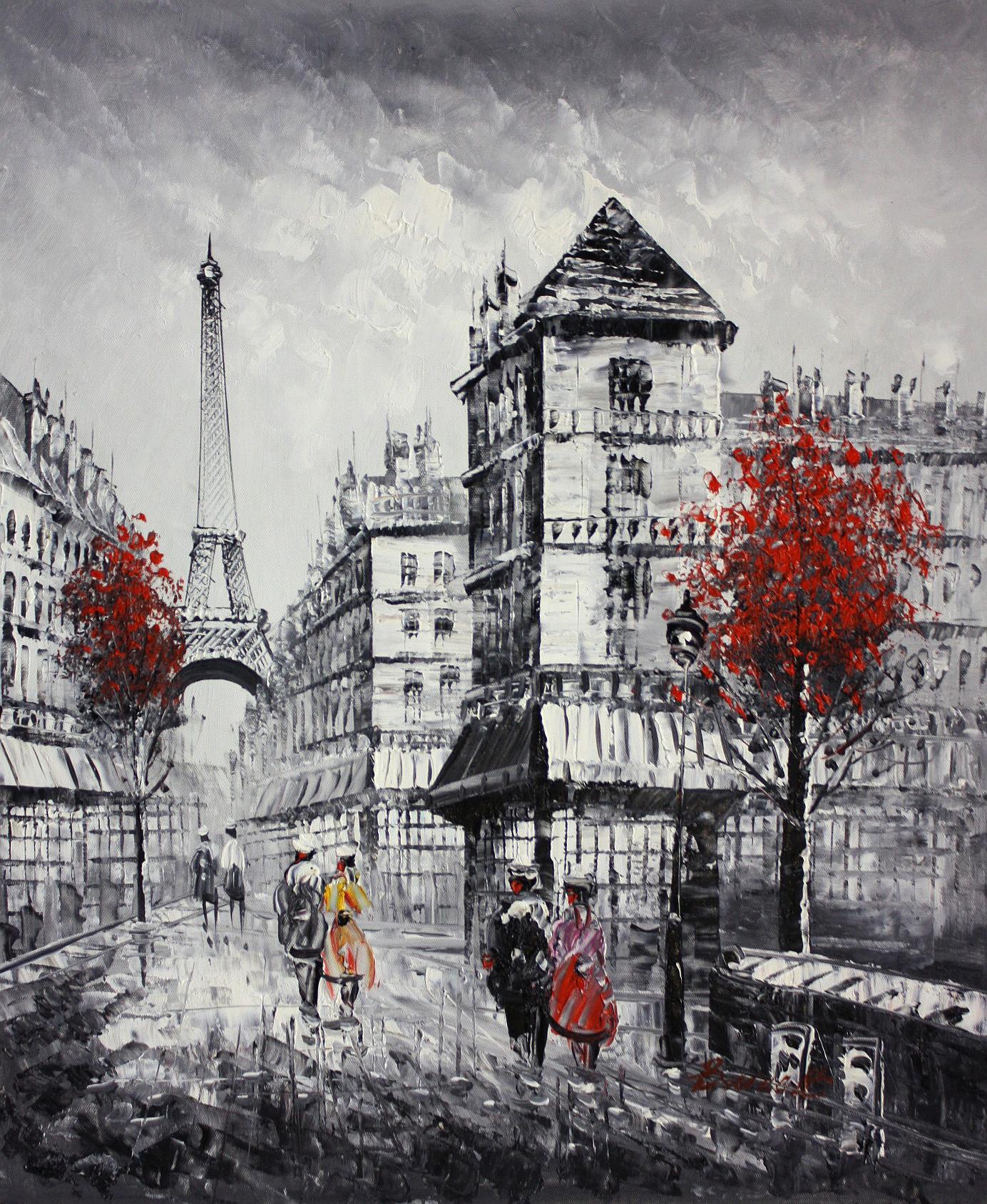Pariser Stadtleben im Herbst c94353 G 50x60cm abstraktes Ölgemälde
