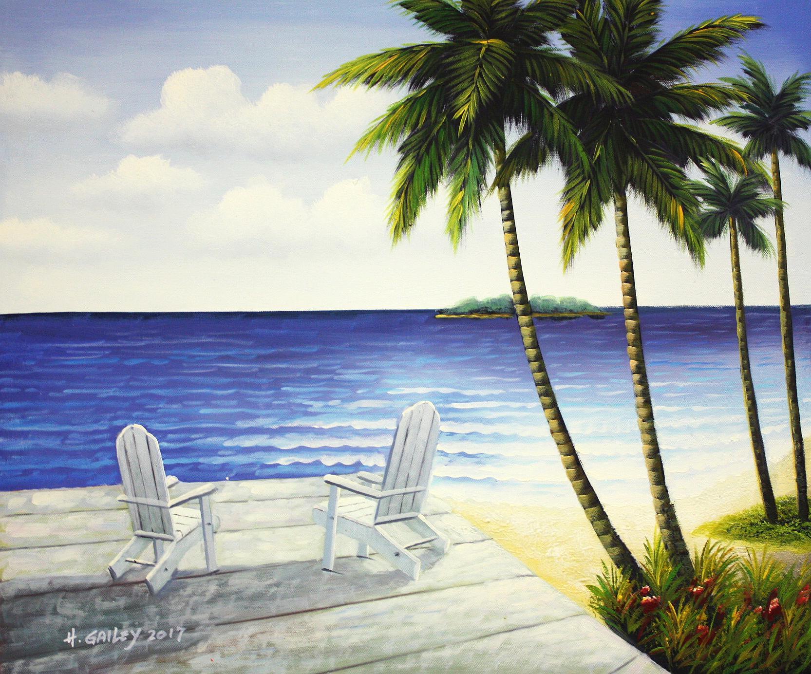 Modern Art - Karibische Idylle c94359 50x60cm beeindruckendes Ölbild