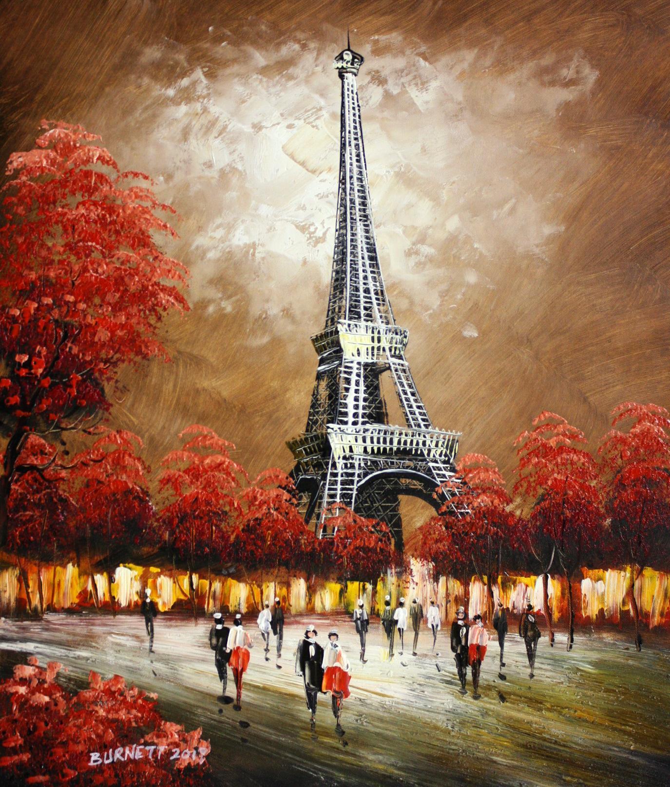 Modern Art Spaziergang am Eiffelturm c94367 50x60cm Ölgemälde handgemalt