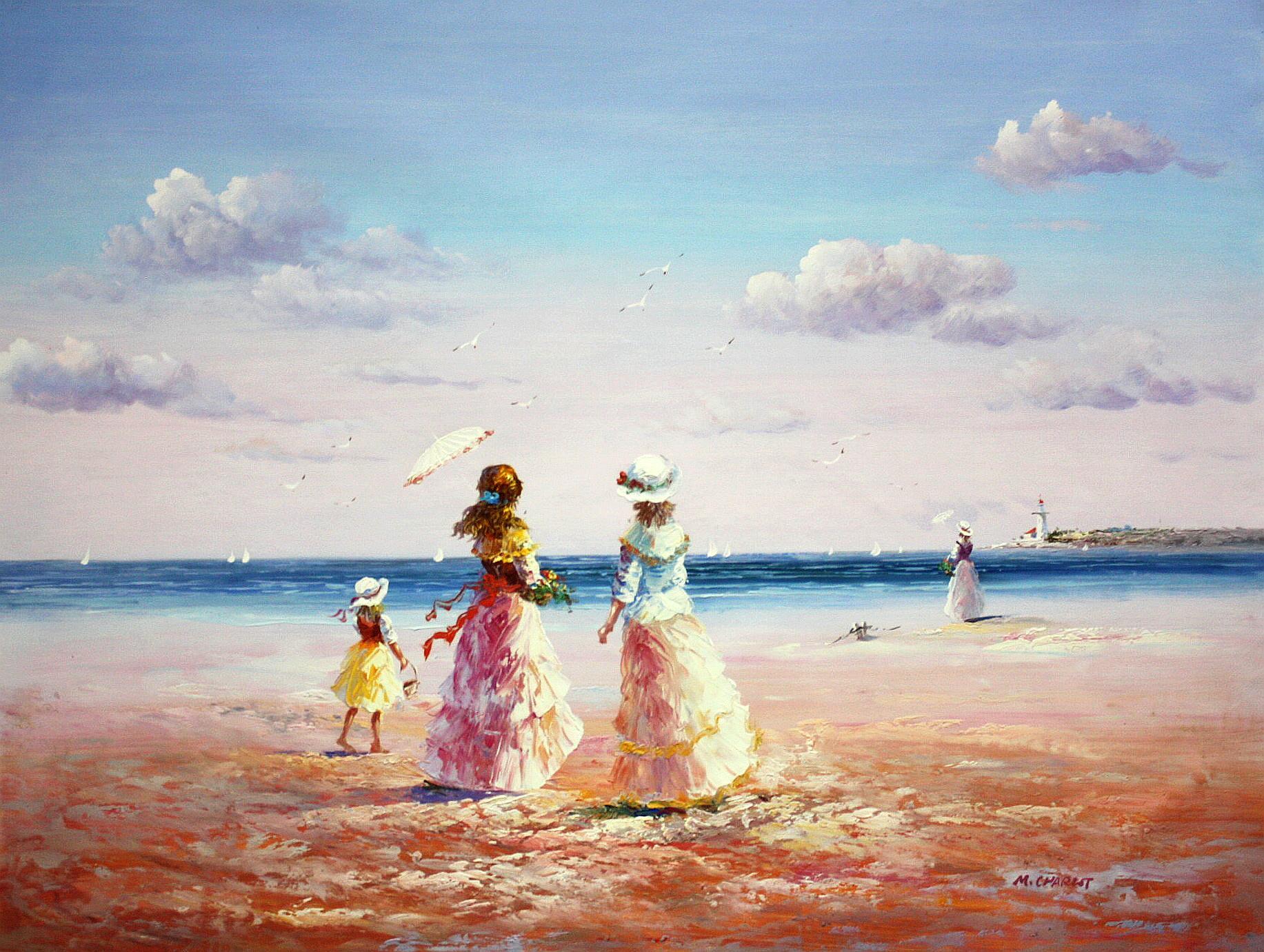 Sylt - Spaziergang am Strand k94334 90x120cm exzellentes Gemälde