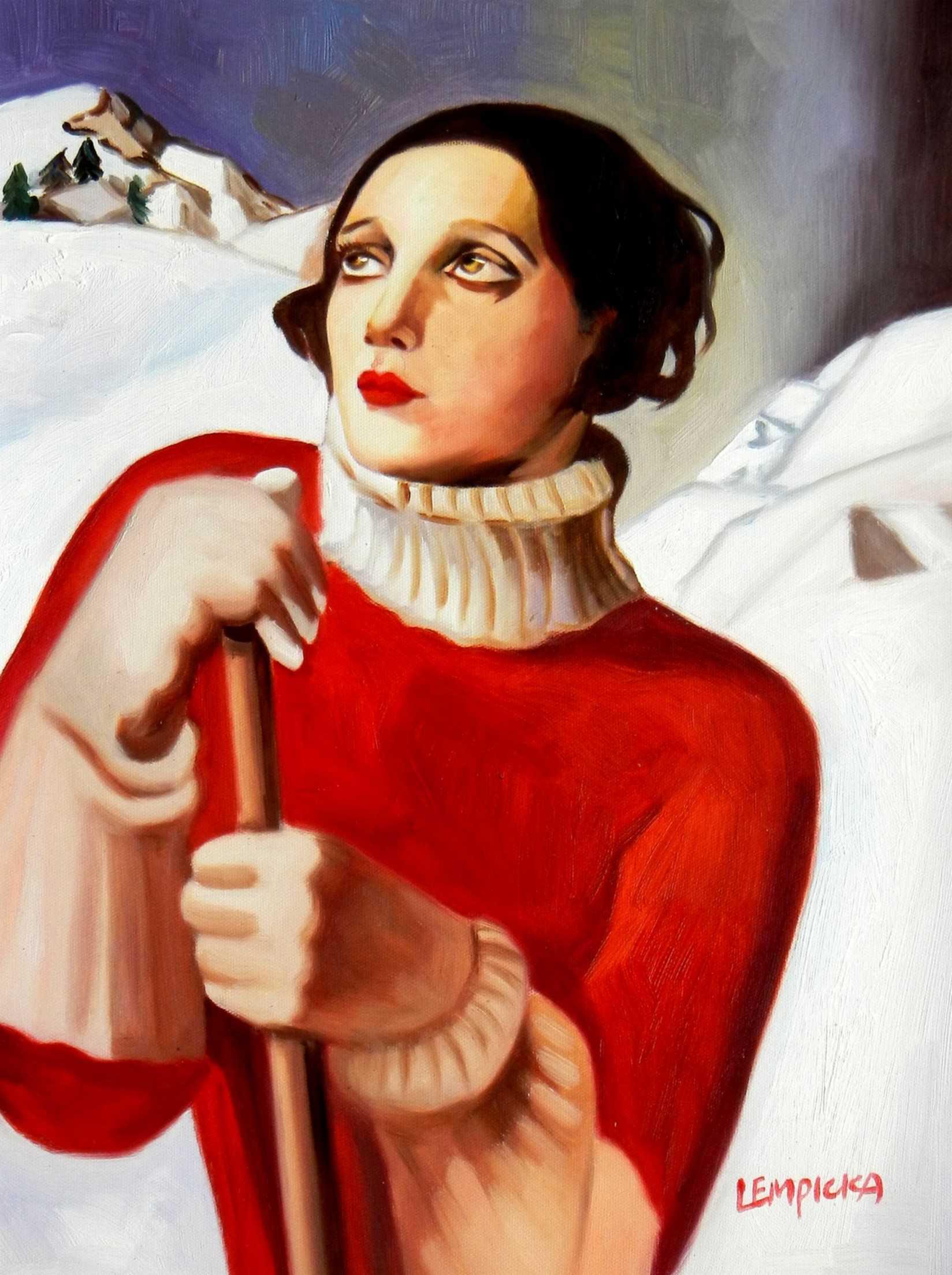 Homage to T. Lempicka - Sain Moritz a95725 30x40cm handgemaltes Gemälde