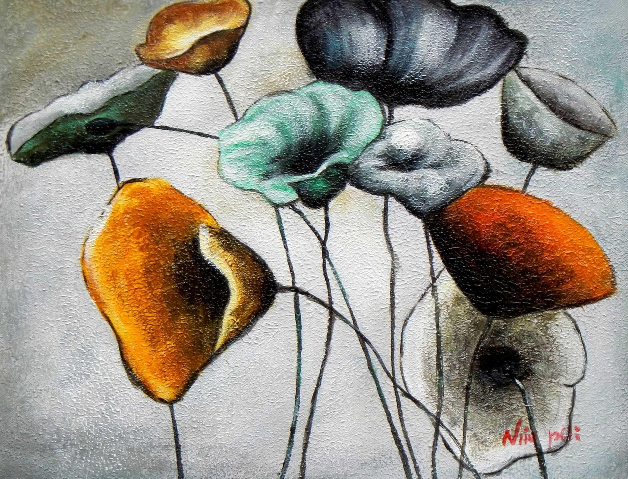 Abstrakt Modern Art - Der Blumentanz a95727 30x40cm Ölgemälde handgemalt