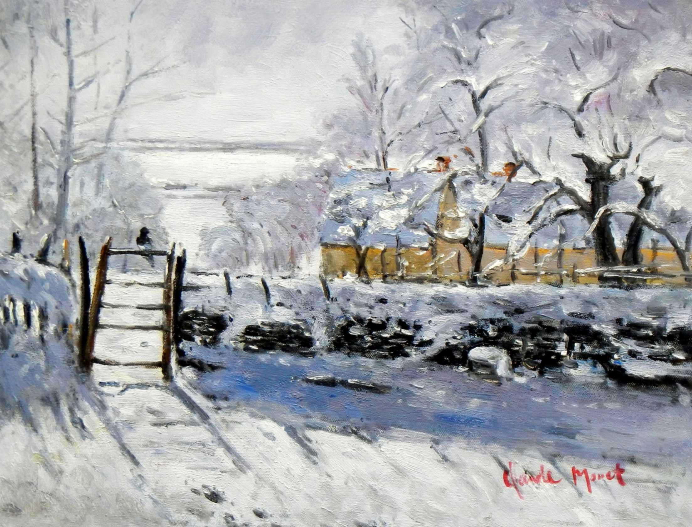 Claude Monet - Die Elster a95730 G 30x40cm handgemaltes Ölgemälde