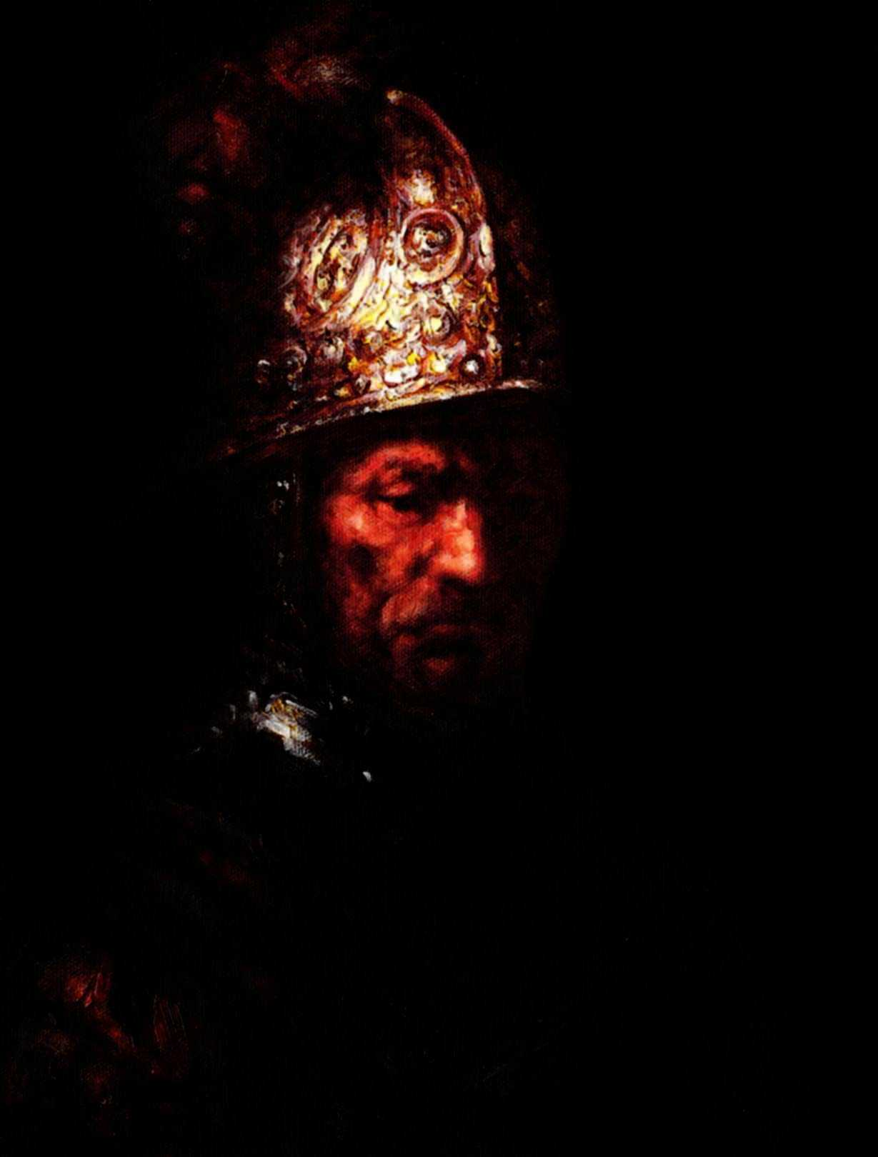 Rembrandt - Mann mit Goldhelm a95982 30x40cm edles Ölgemälde handgemalt Museumsqualität